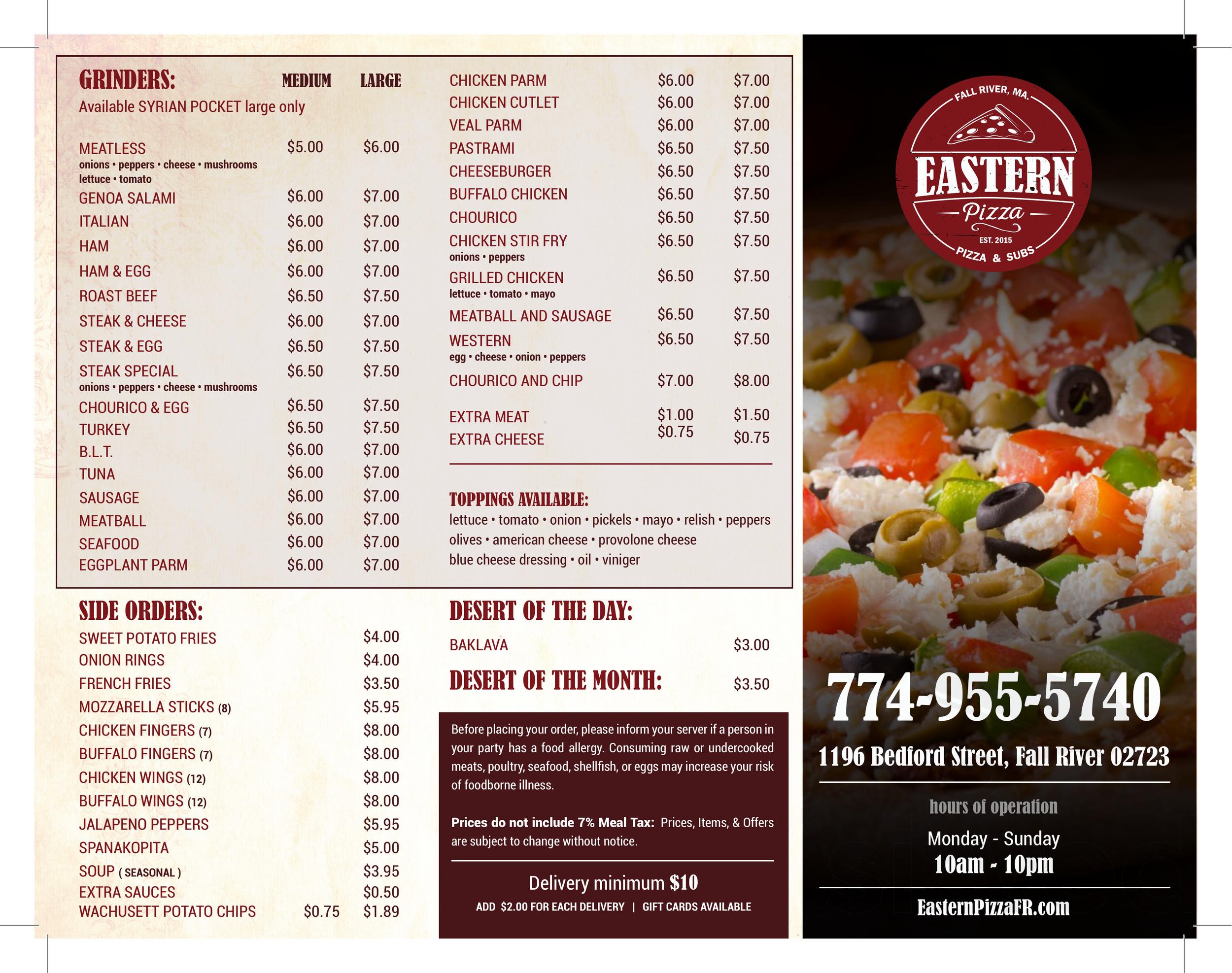 Eastern Pizza menu in Fall River, Massachusetts, USA