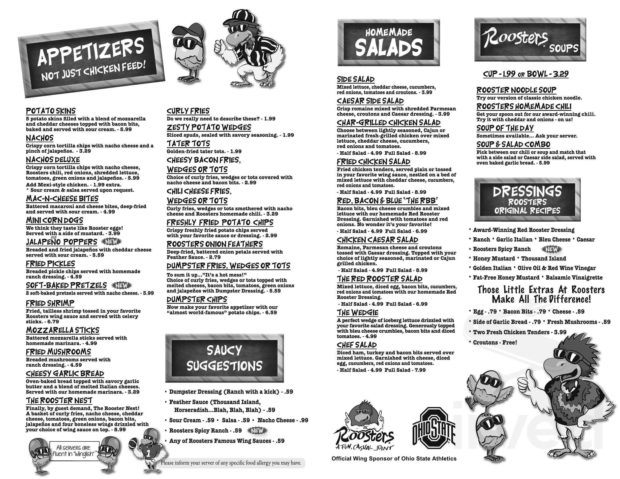 Menu For Rooster S Restaurant In Lancaster Ohio Usa
