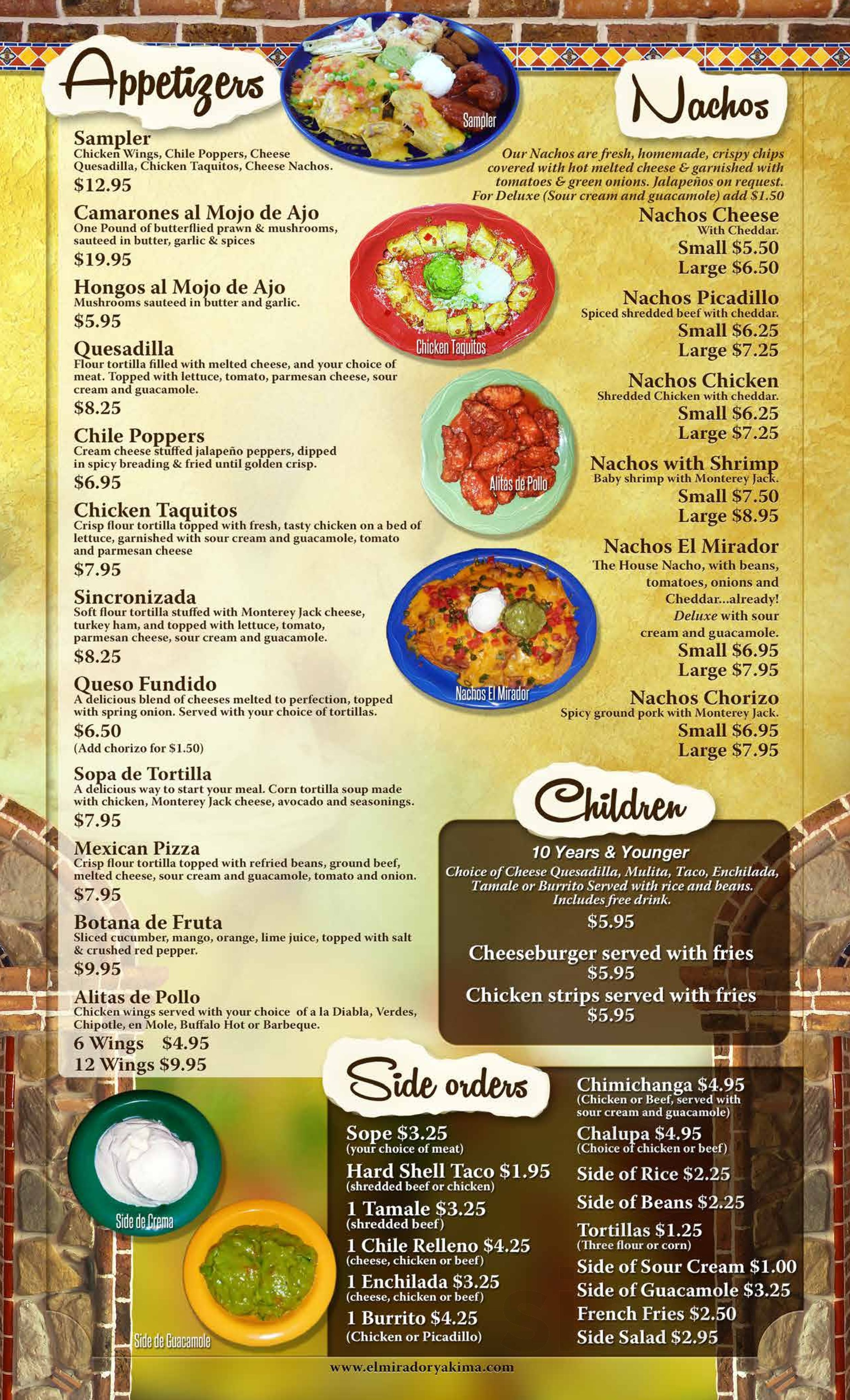 El Mirador Menu In Yakima Washington Usa