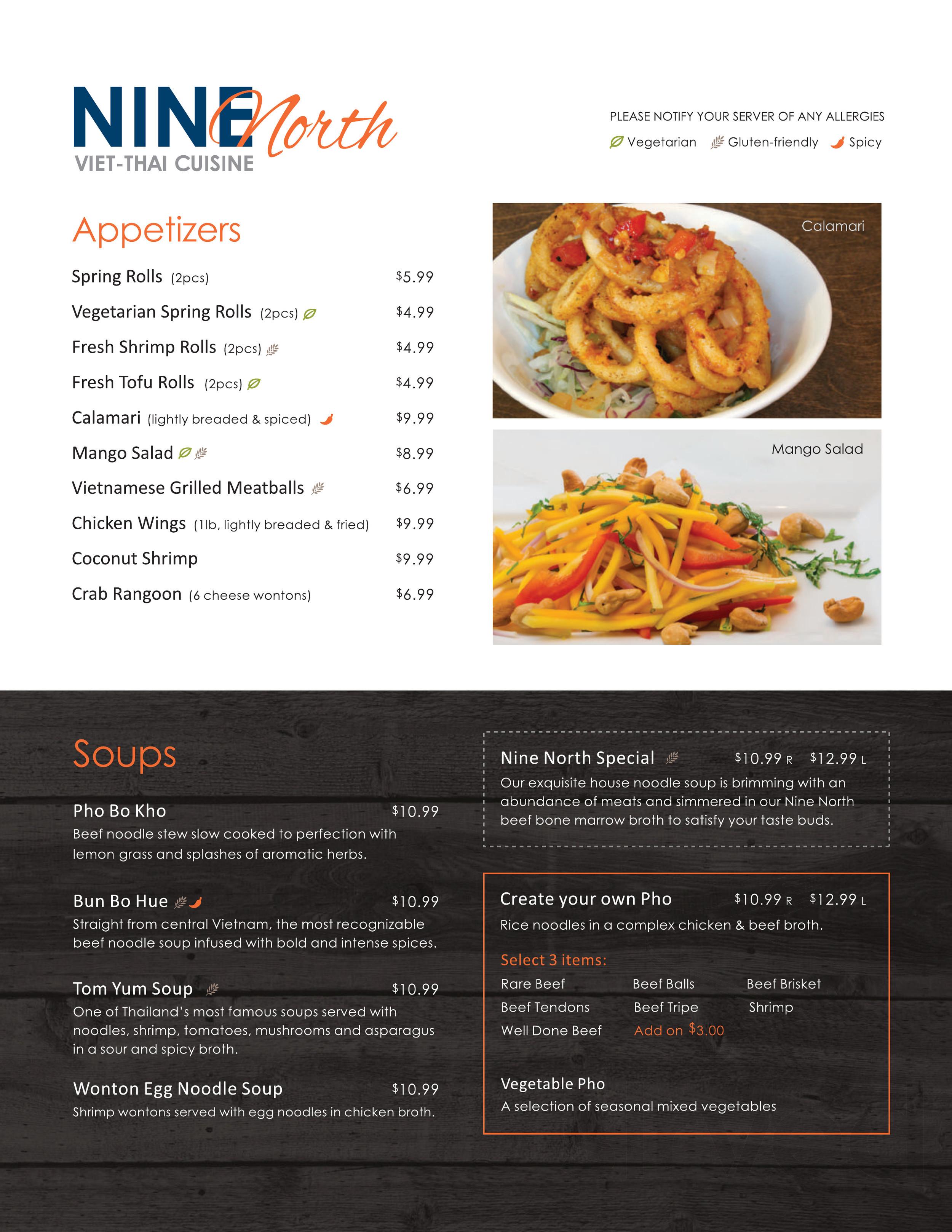 Nine North Viet Thai Cuisine Menu In Brantford Ontario