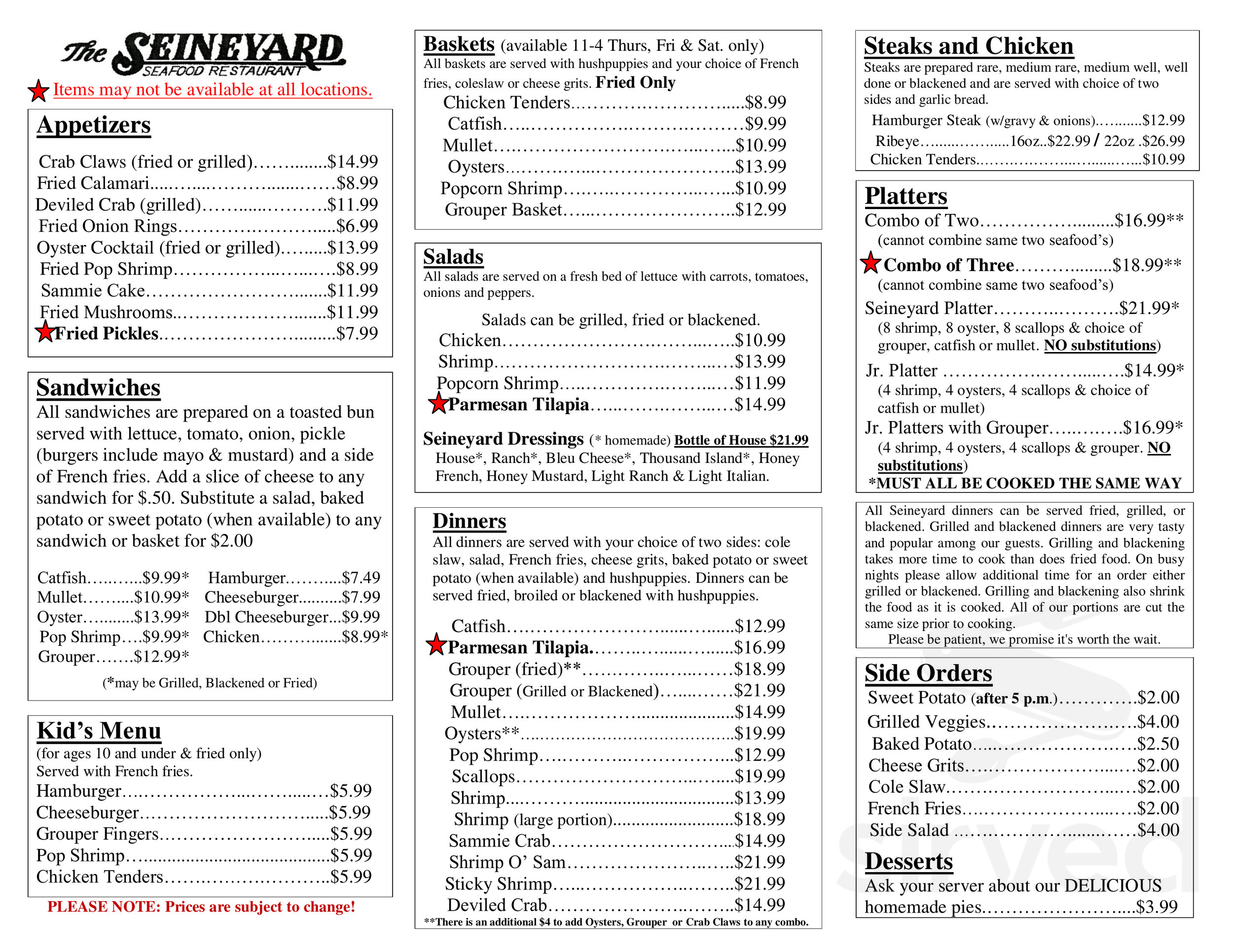 Menu For The Other Seineyard Seafood Restaurant In