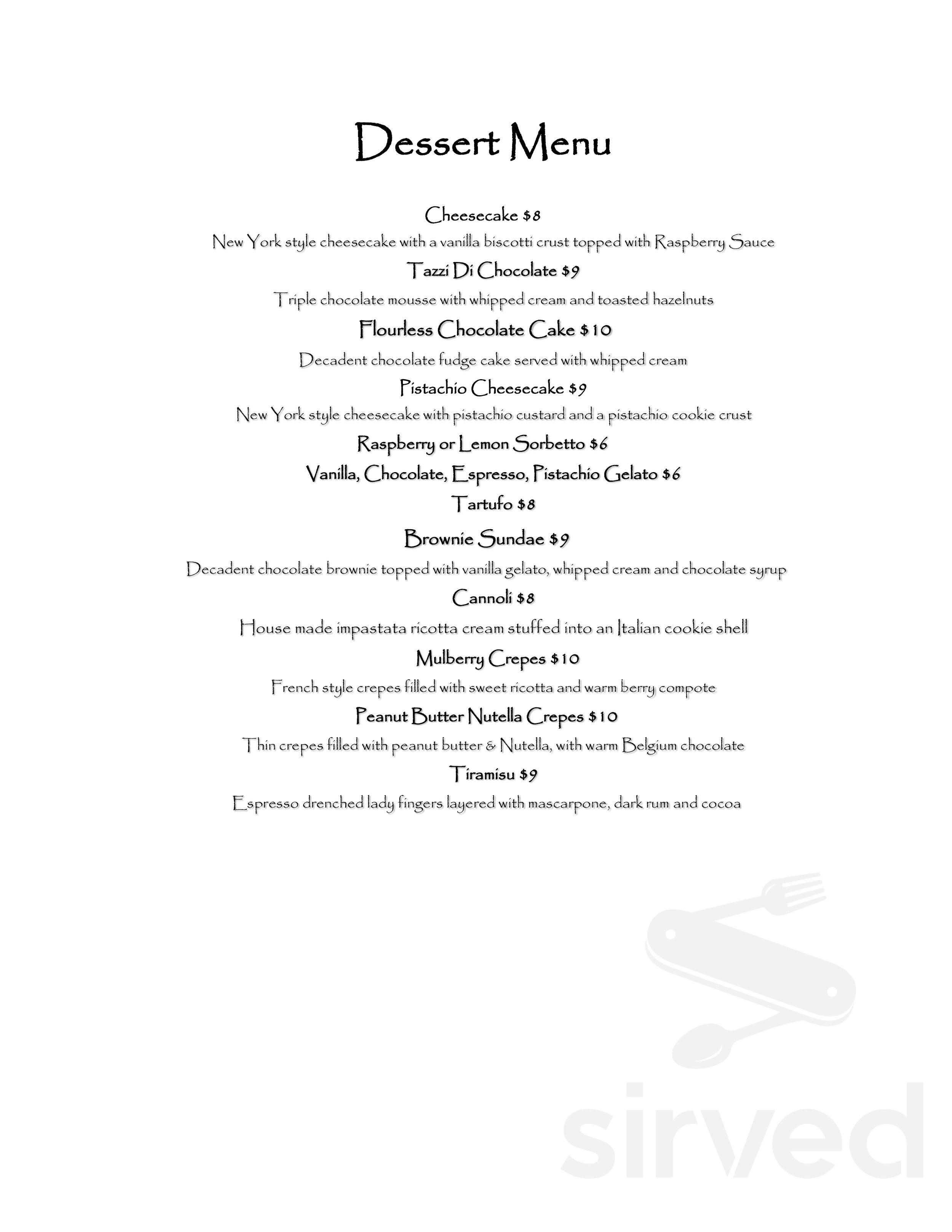 Menu For Mulberry Street Restaurant In Woodbridge New Jersey