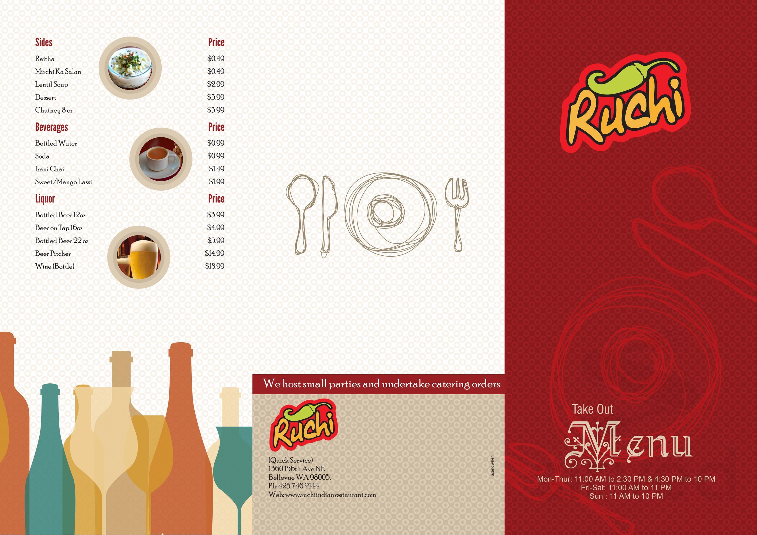 Menu For Ruchi Indian Restaurant In Bothell Washington