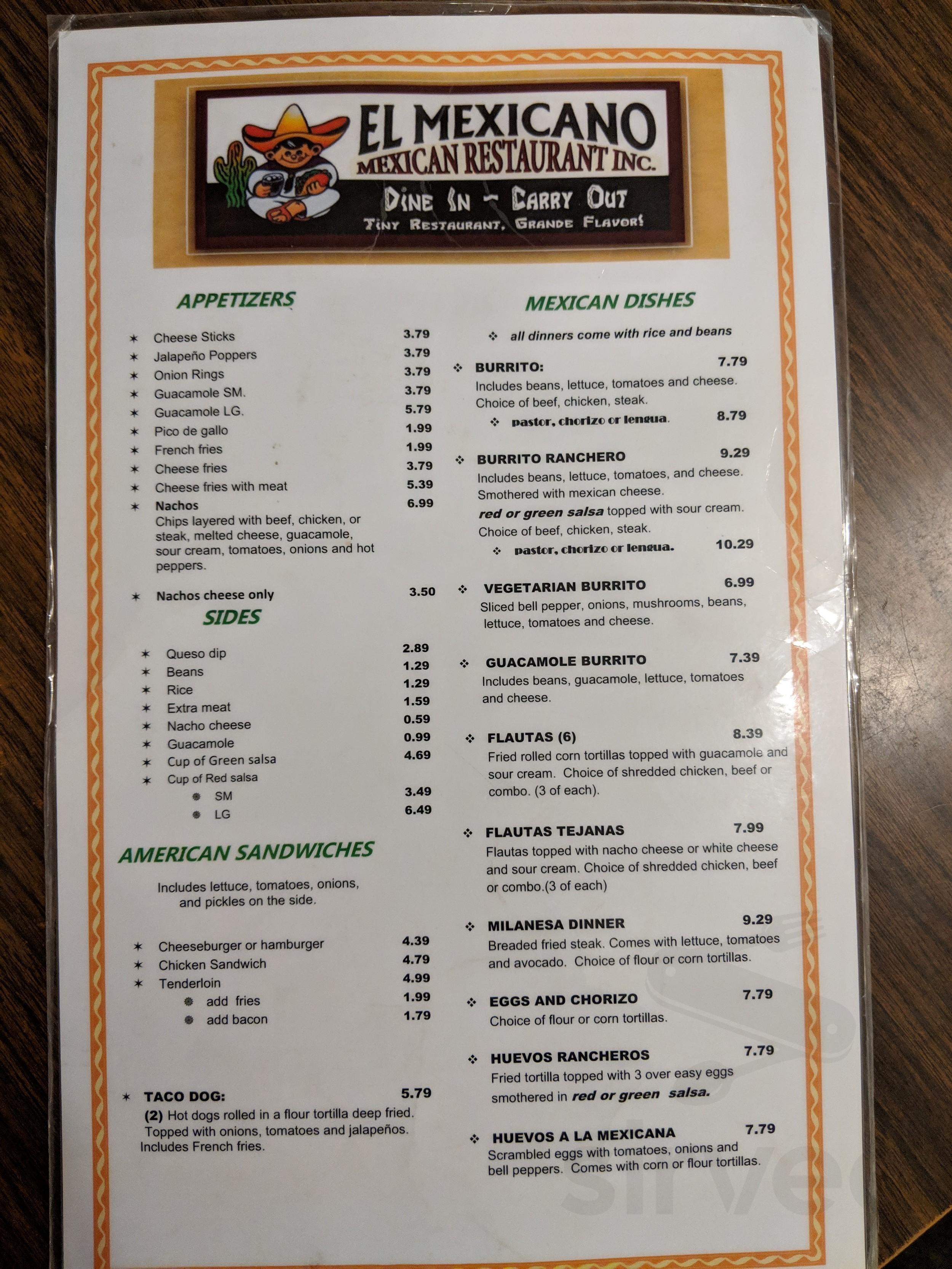 El Mexicano Restaurant Menu In Peoria Illinois Usa