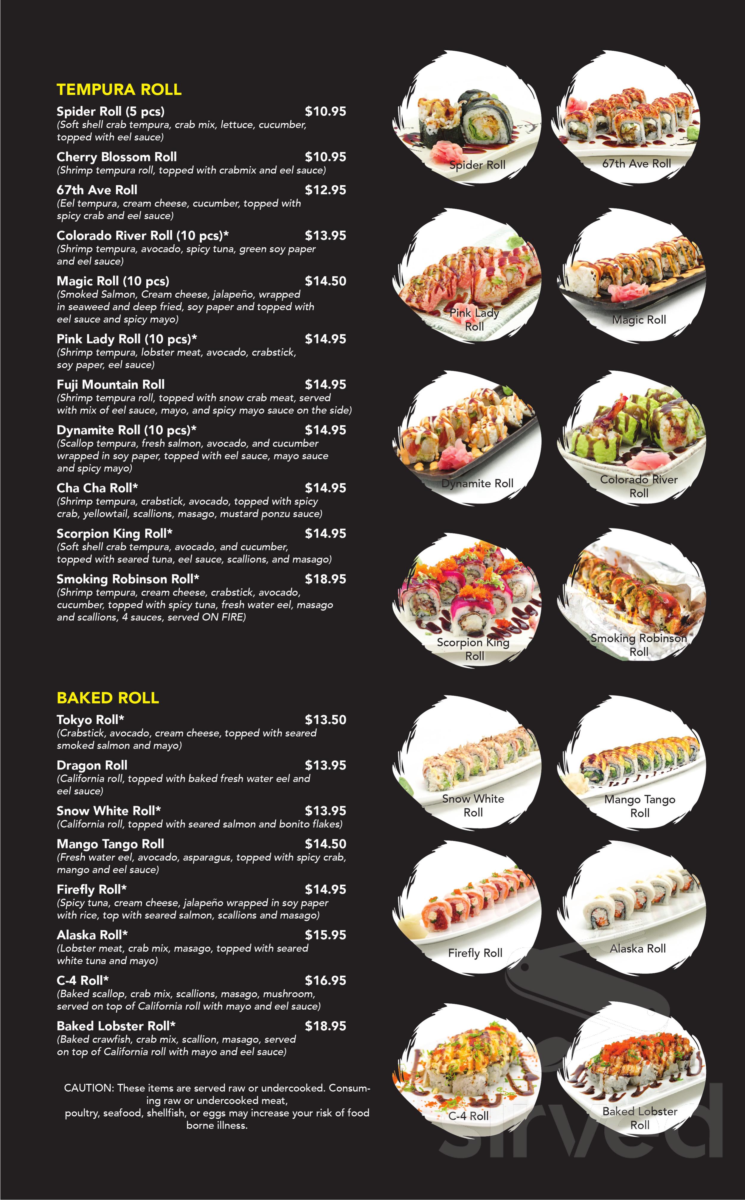 Menu for Kawaii Sushi and Asian Cuisine in Glendale, Arizona