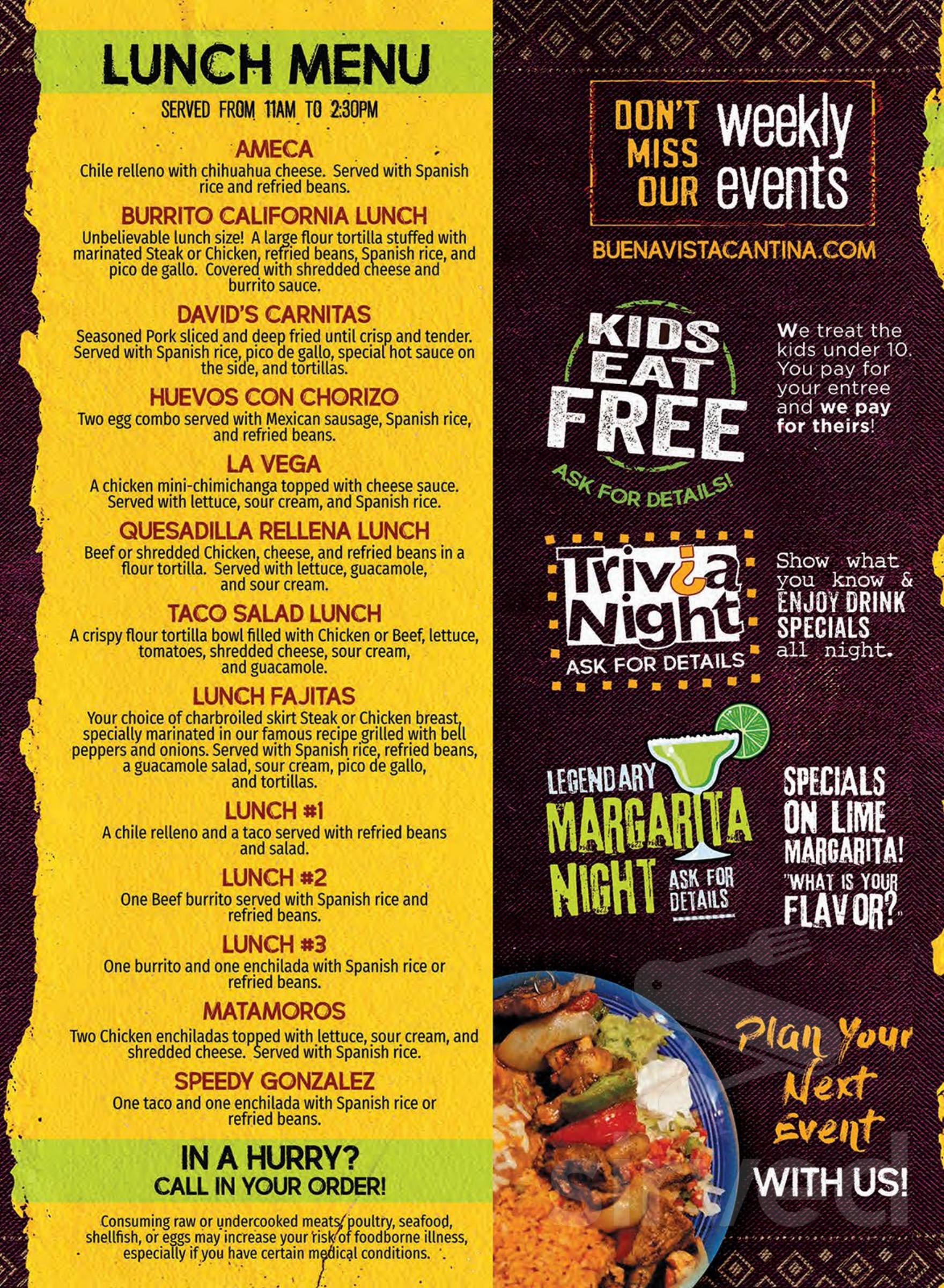 Menu For Buenavista Mexican Restaurant In Cullman Alabama