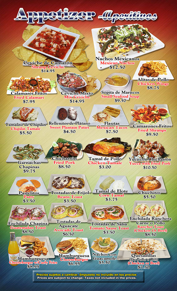 Menu for Comedor Latino in Plainfield, New Jersey, USA