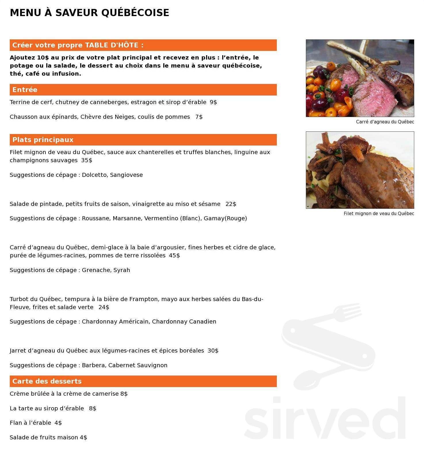 Restaurant La Table Du Junior Menu In Saint Georges Quebec