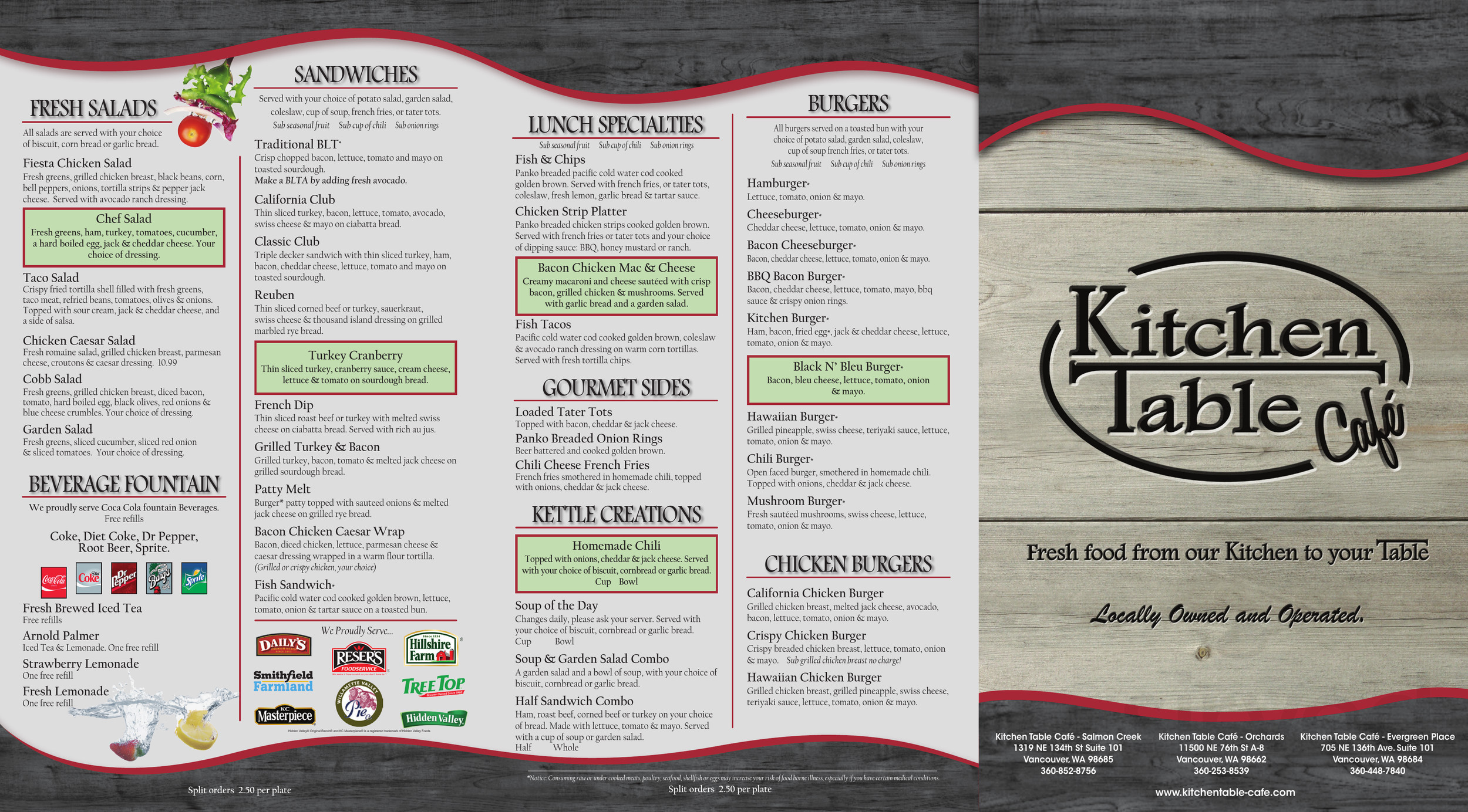 Kitchen Table Cafe- Orchards menu in Vancouver, Washington