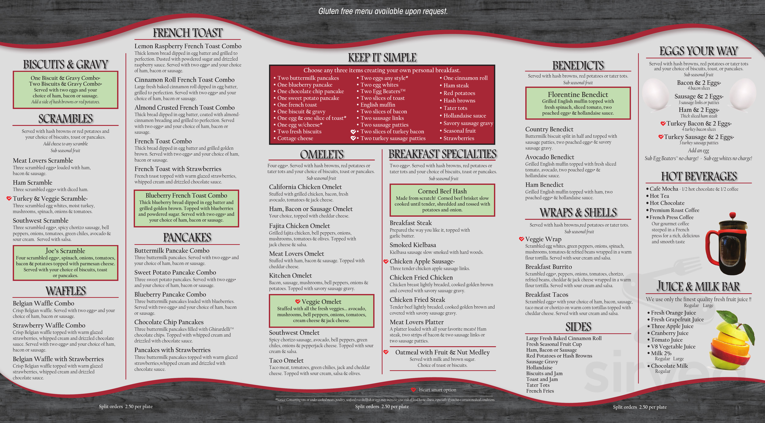 Kitchen Table Cafe Orchards Menu In Vancouver Washington Usa