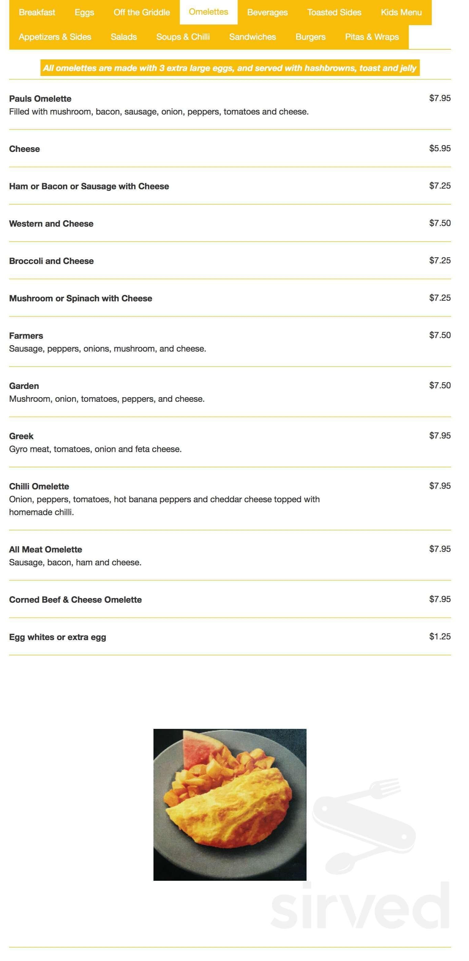 Menu For Paul S Kitchen In Windsor Ontario Canada