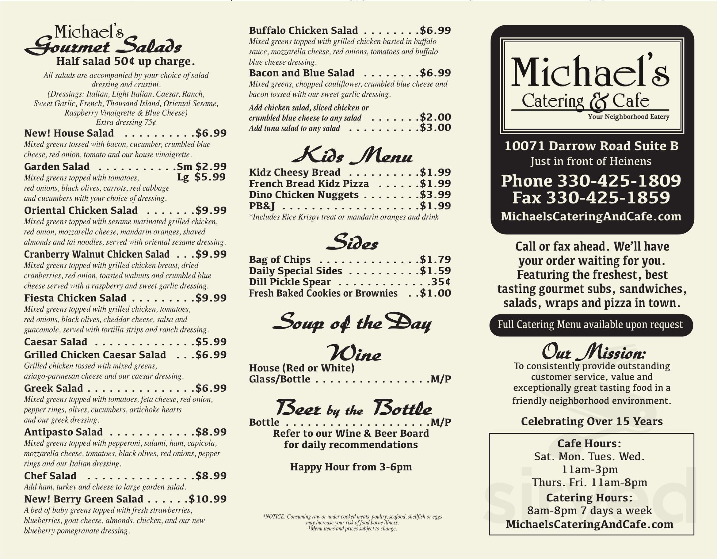 1809 Menu michael's catering & cafe menu in twinsburg, ohio, usa