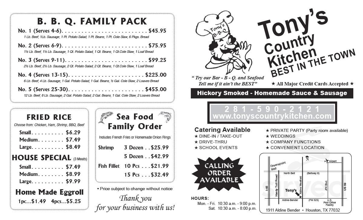 Tony S Country Kitchen Menu In Houston Texas Usa