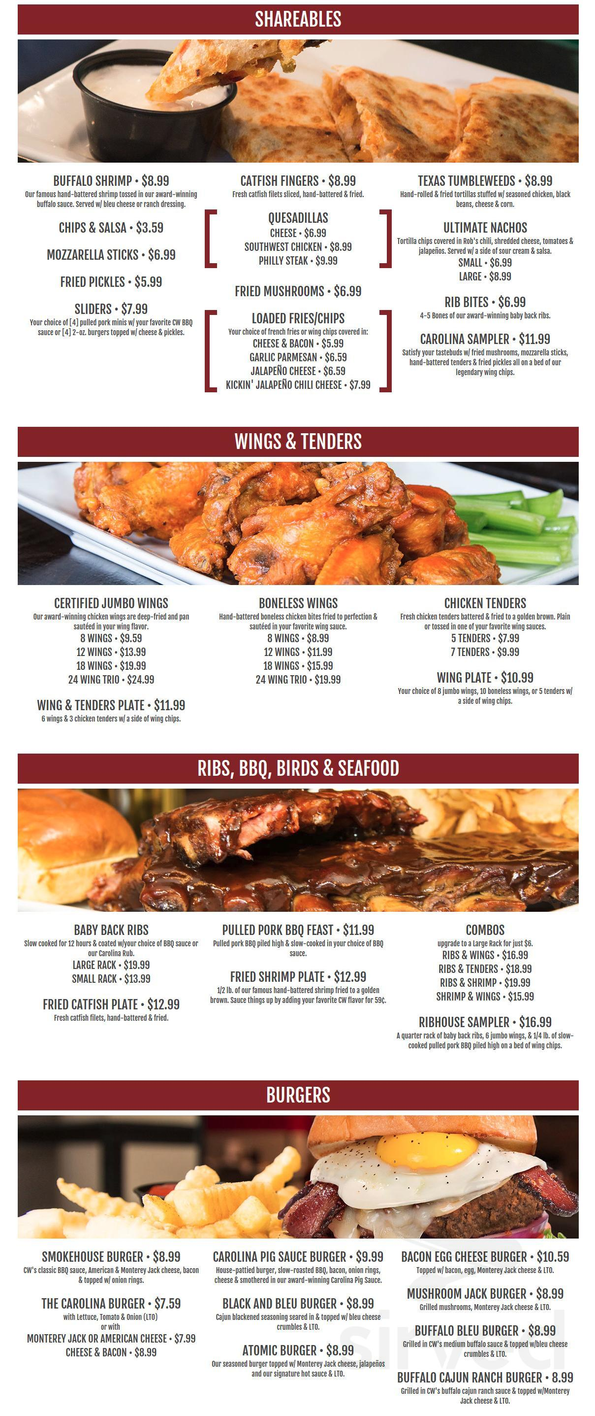 Carolina Wings Ribhouse Menu In West Columbia South Carolina