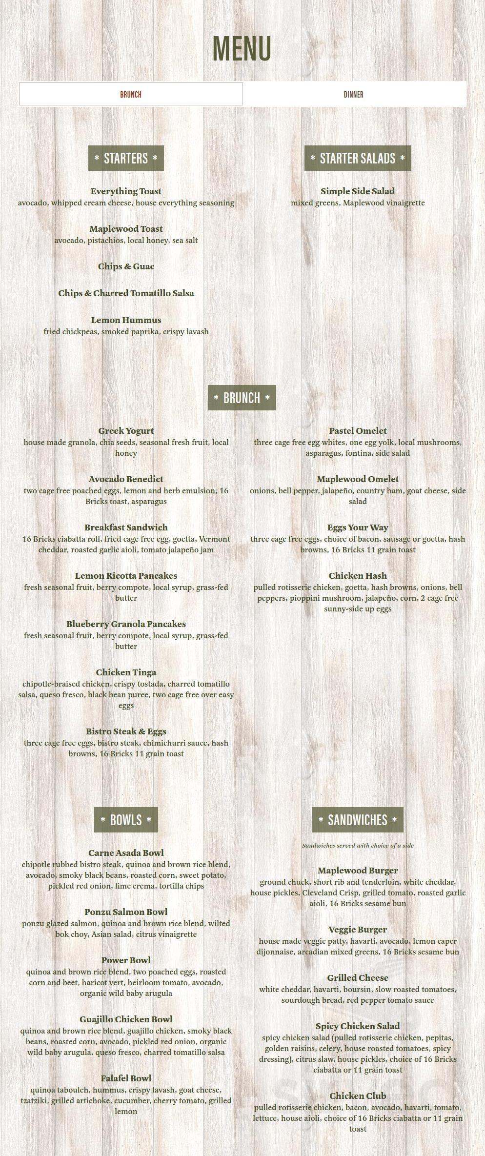 Menu For Maplewood Kitchen And Bar In Mason Ohio Usa