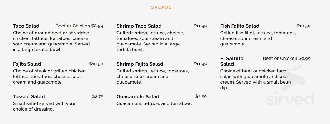 El Saltillo Mexican Restaurant Menu In Biloxi Mississippi