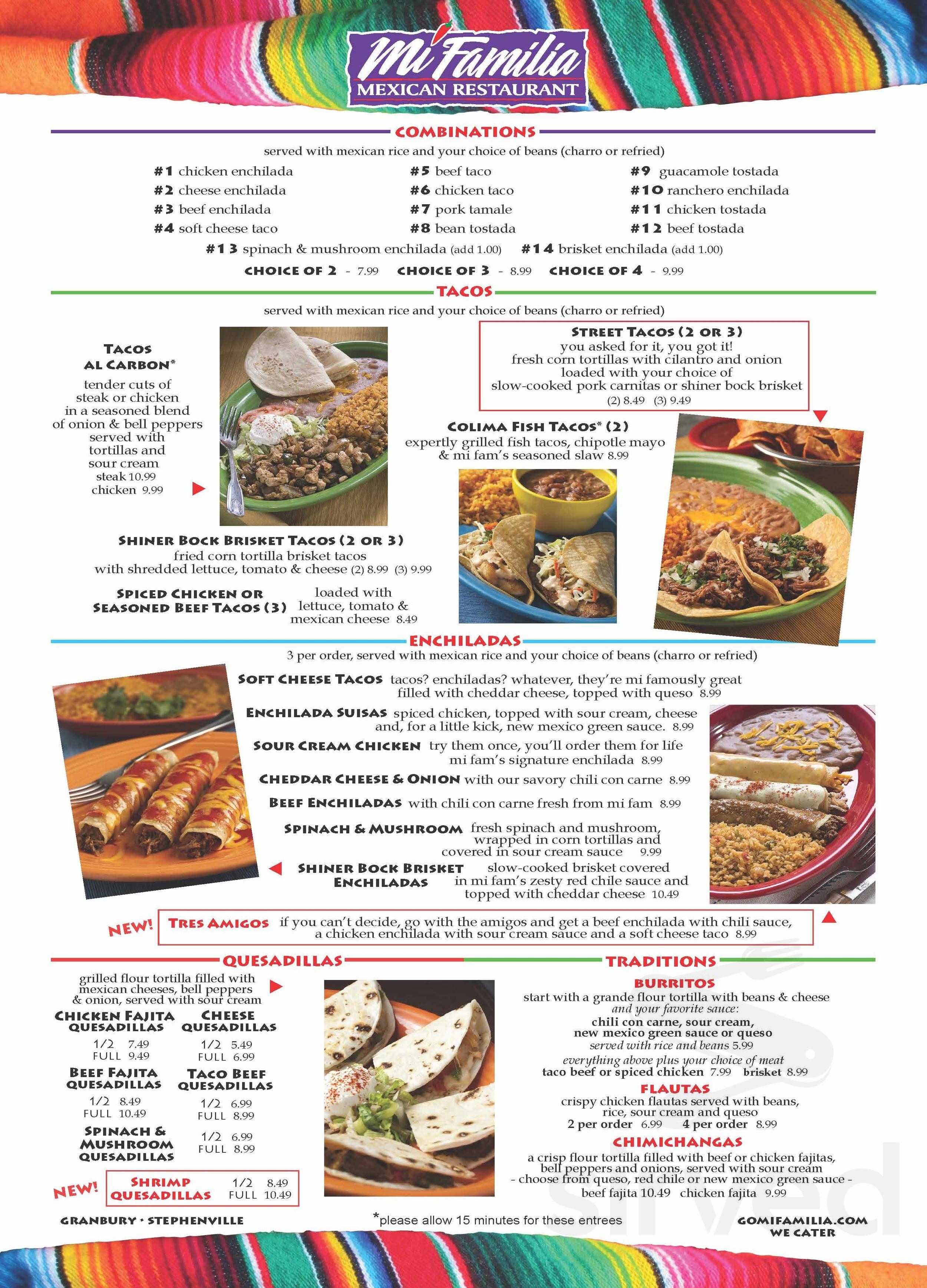 Menu For Mi Familia Mexican Restaurant In Granbury Texas