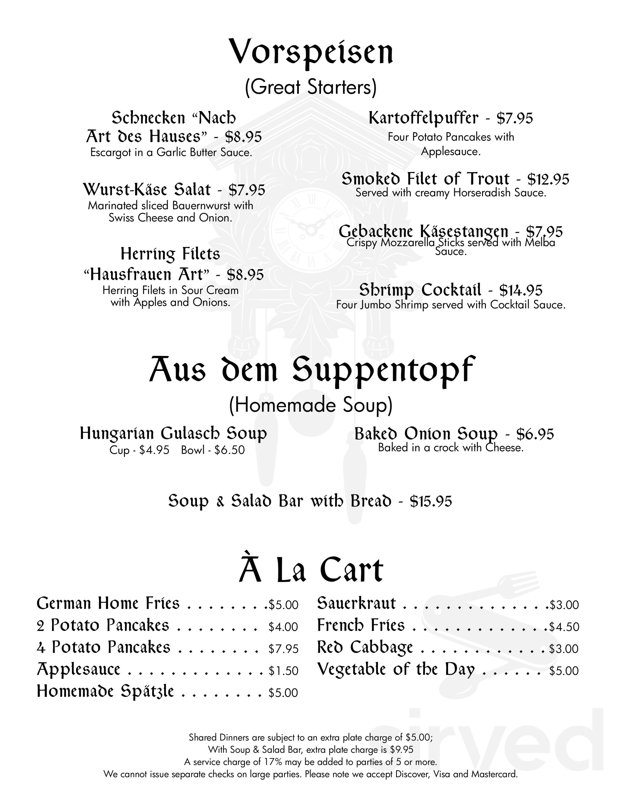 Menu For Pumpernickel S Restaurant In Bolton Landing New York