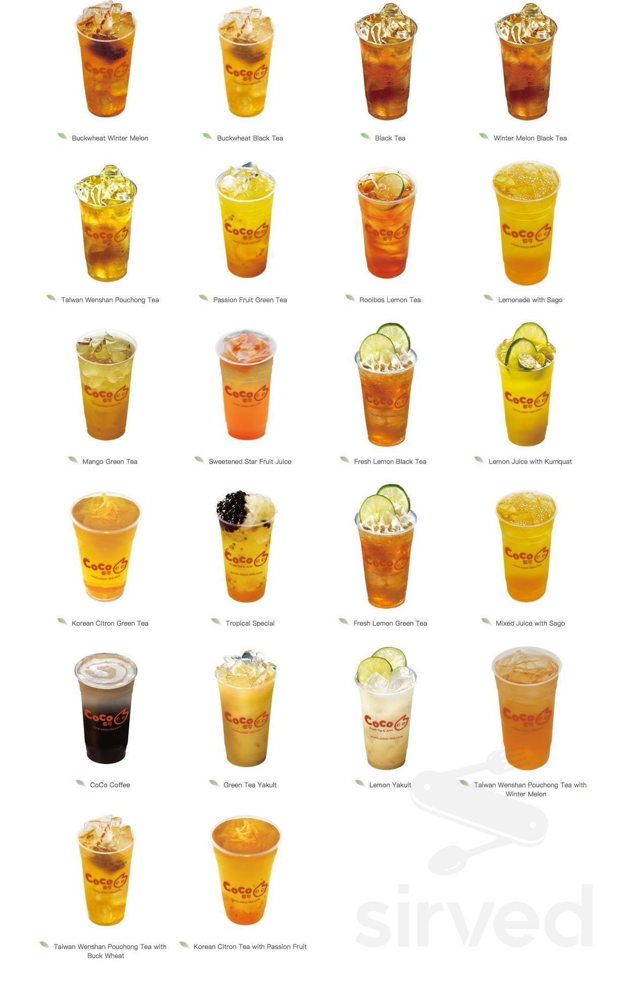 Menu for CoCo Fresh Tea & Juice in Markham, Ontario, Canada