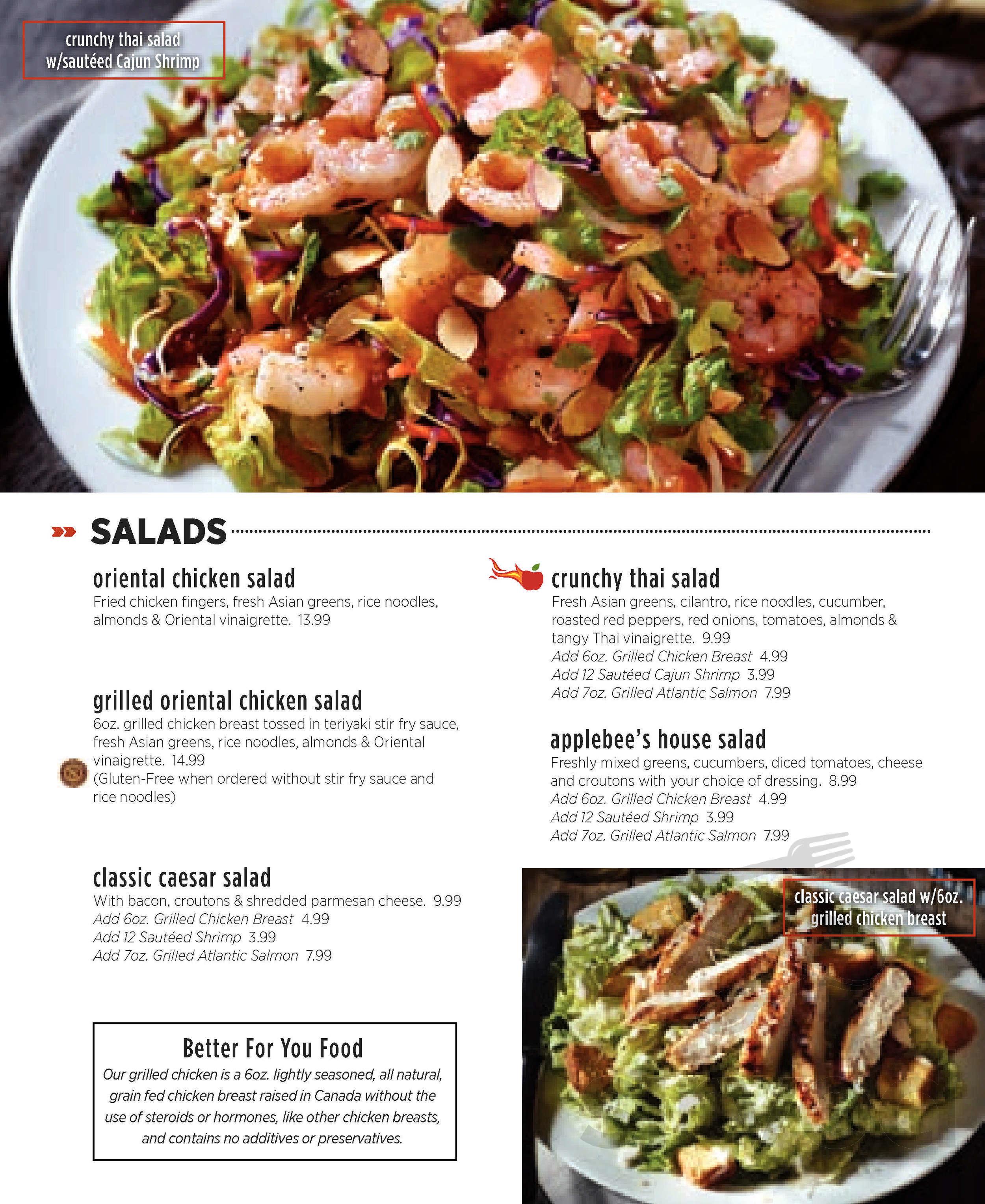 menu for applebee's in regina, saskatchewan, canada