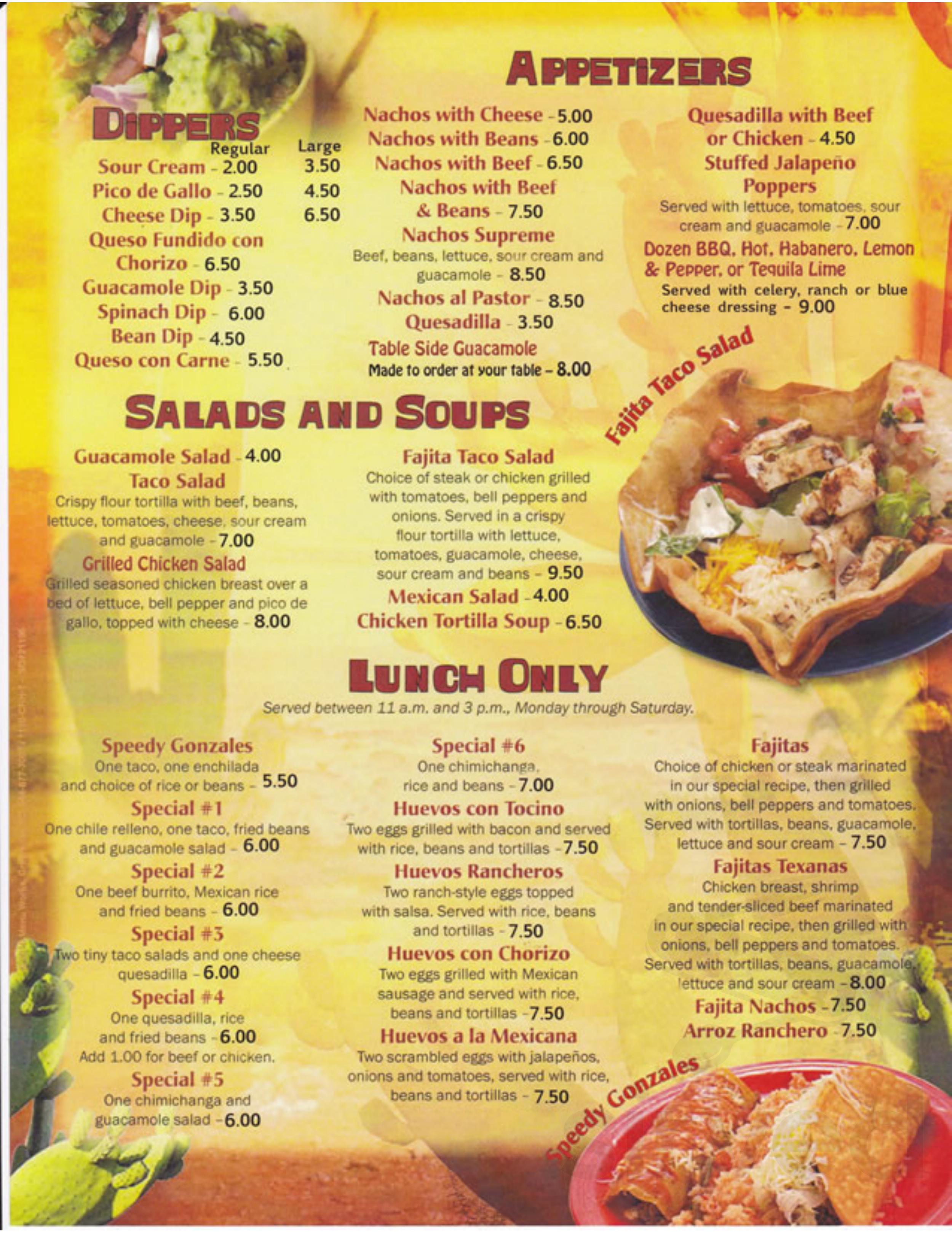Menu For La Nopalera Mexican Restaurant In Jacksonville Florida