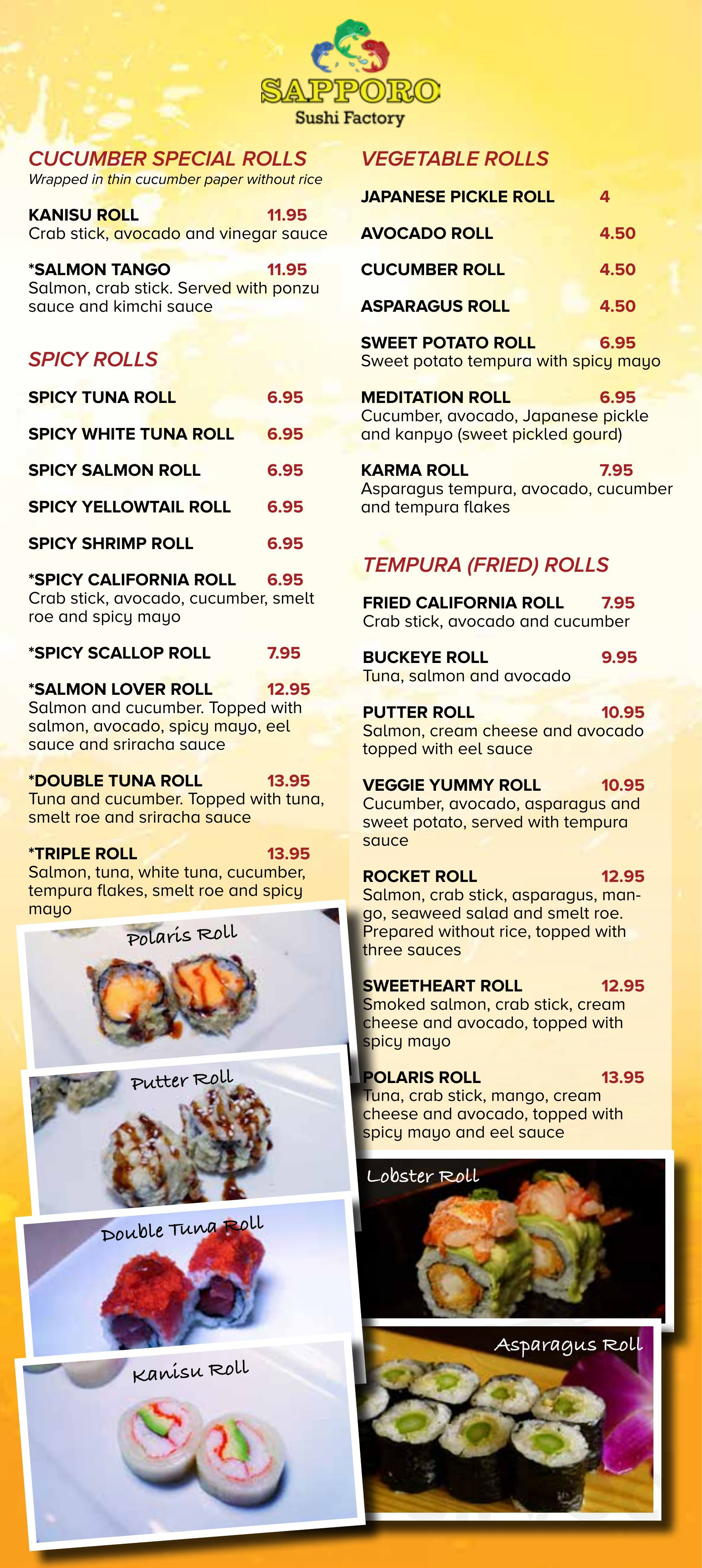 Menu for Sapporo Sushi Factory in Westerville, Ohio, USA