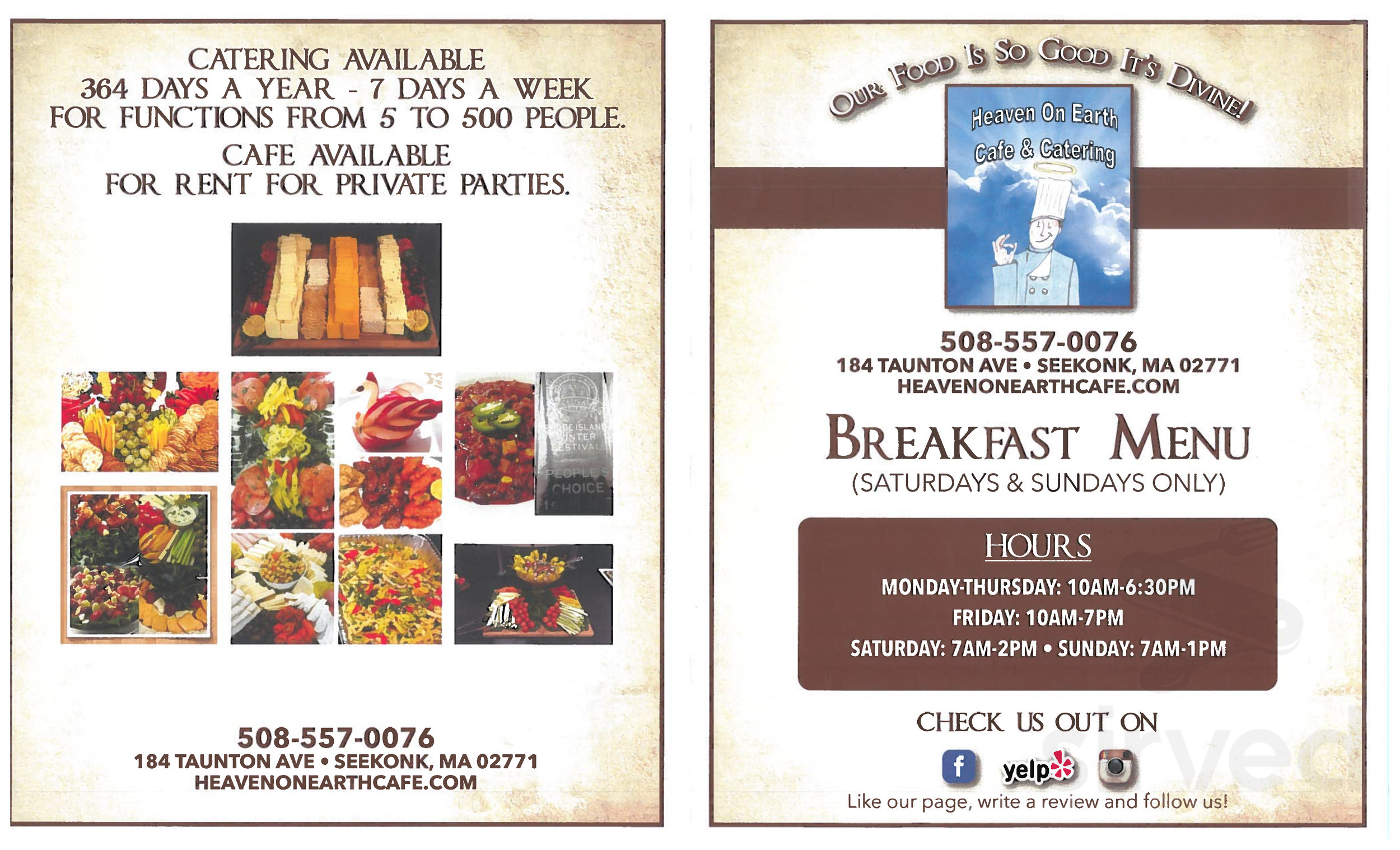 Menu for Heaven on Earth Cafe and Catering in Seekonk