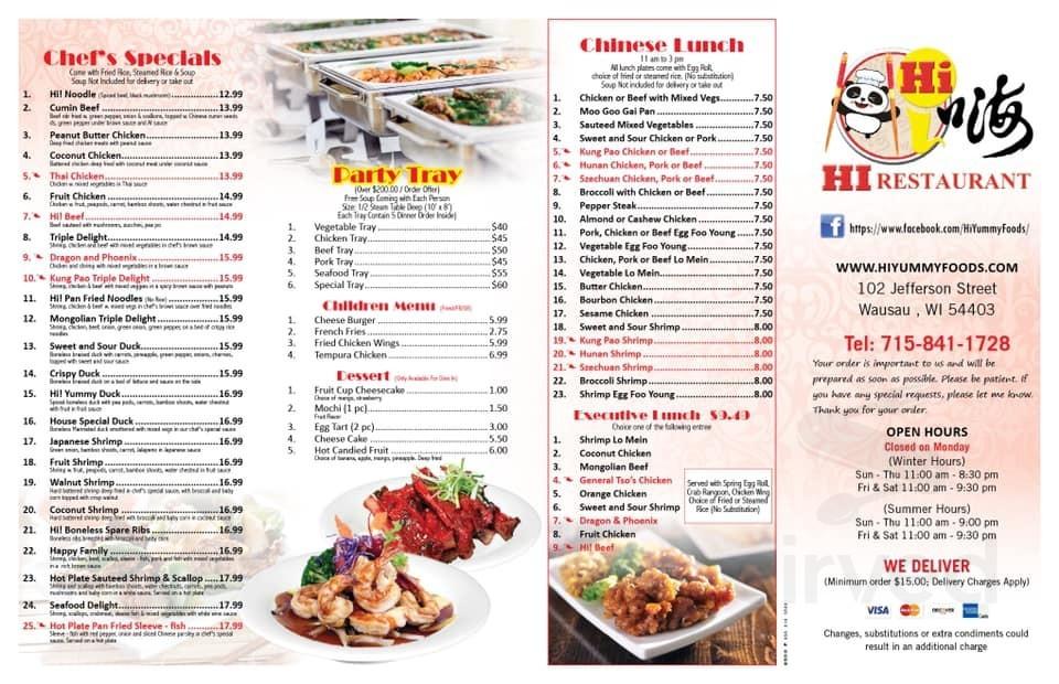 Menu For Hi Restaurant In Wausau Wisconsin Usa