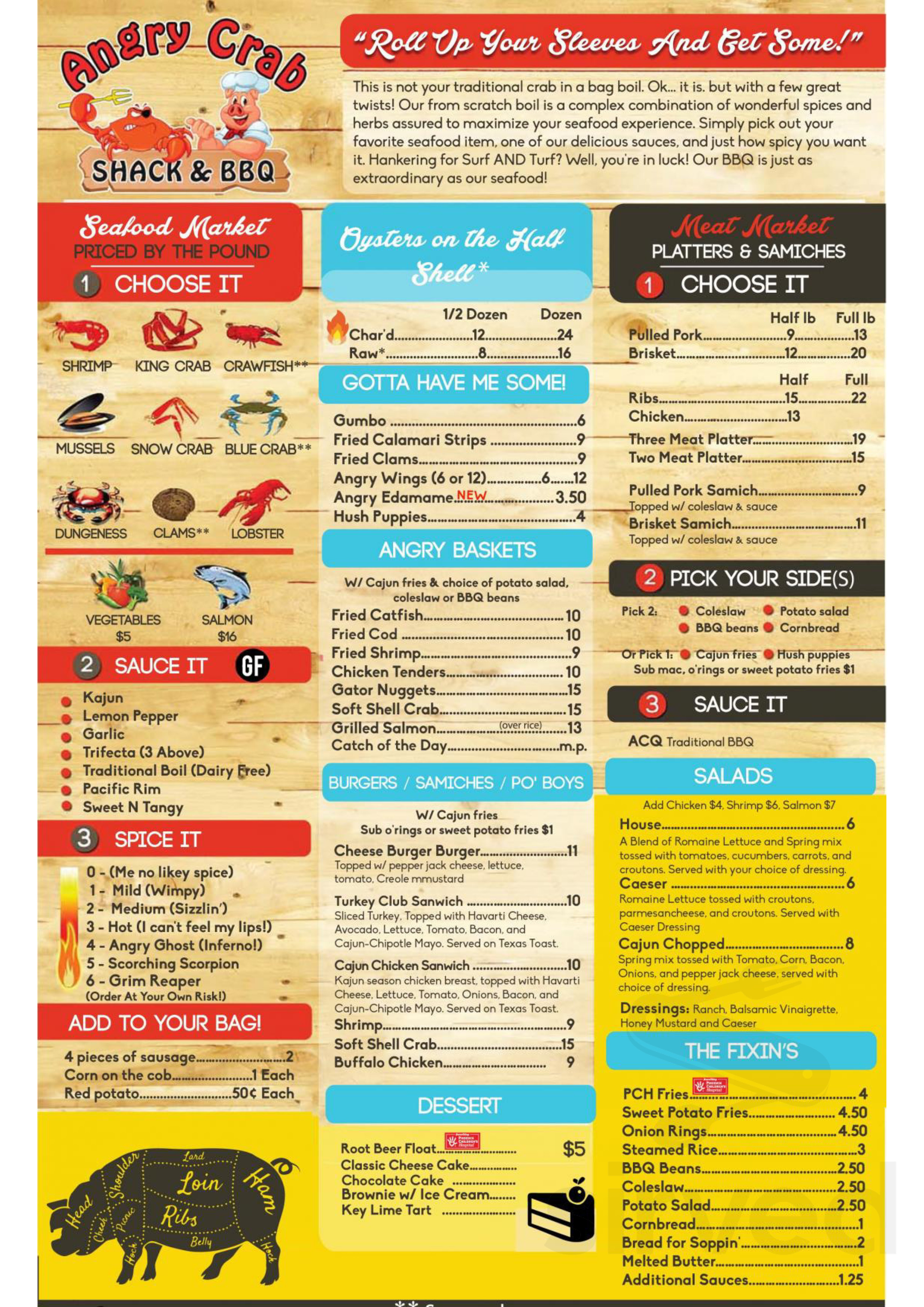 Menu For Angry Crab Shack Bbq In Tucson Arizona Usa