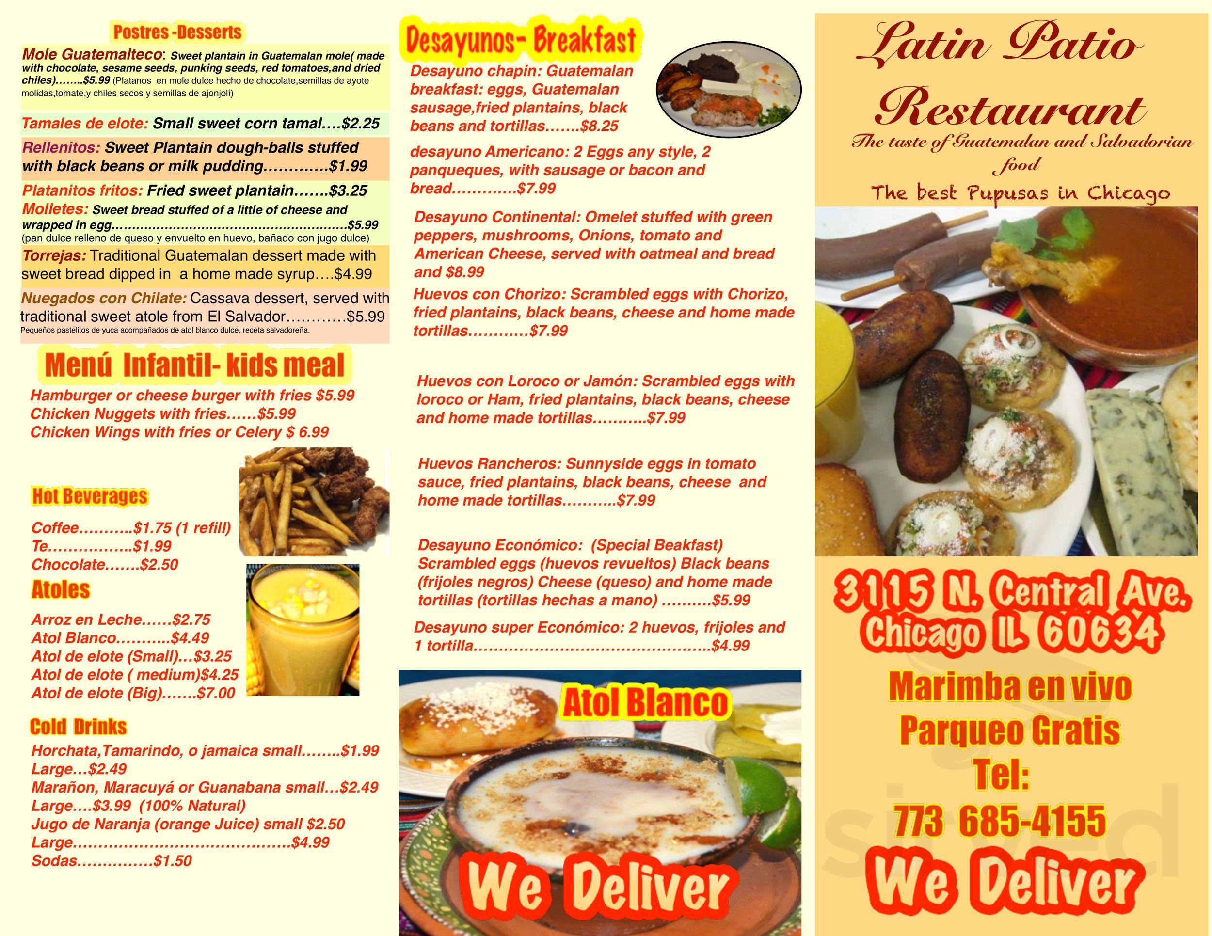 Latin Patio Restaurant Menu In Chicago Illinois Usa