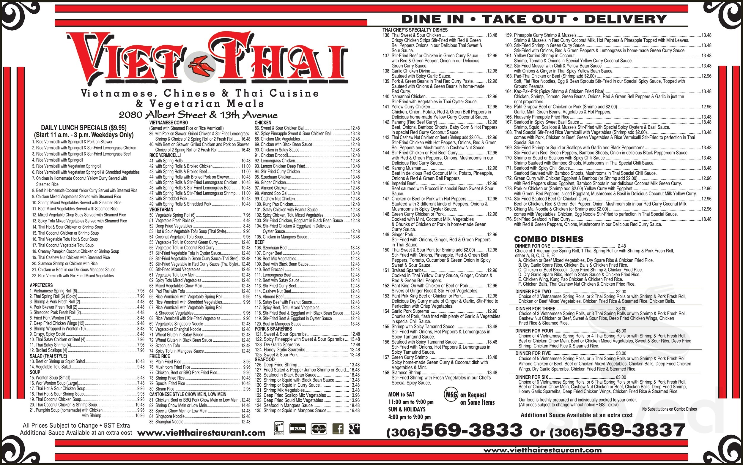 Viet Thai Restaurant Menu In Regina Saskatchewan Canada