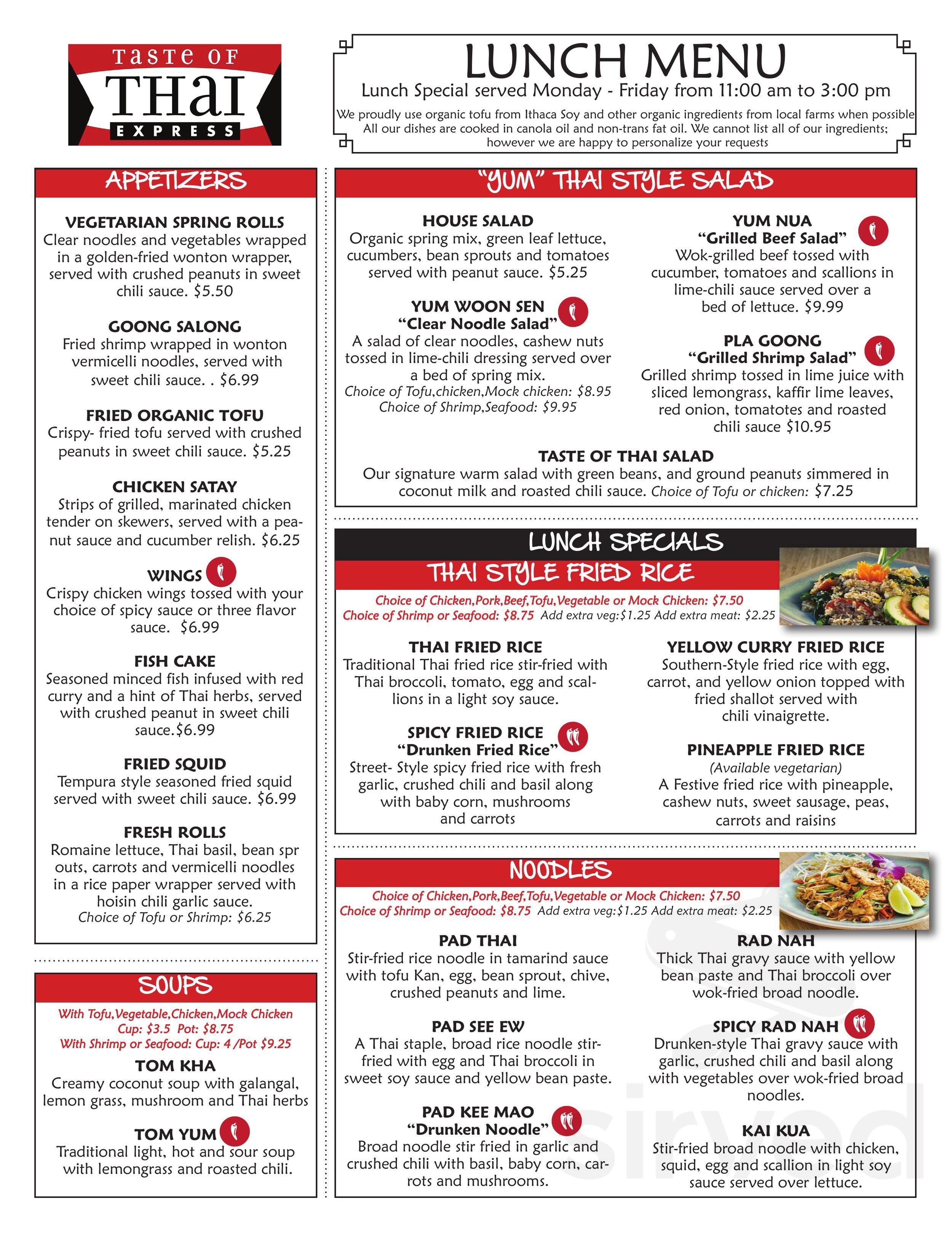 Taste Of Thai Express Menu In Ithaca New York Usa