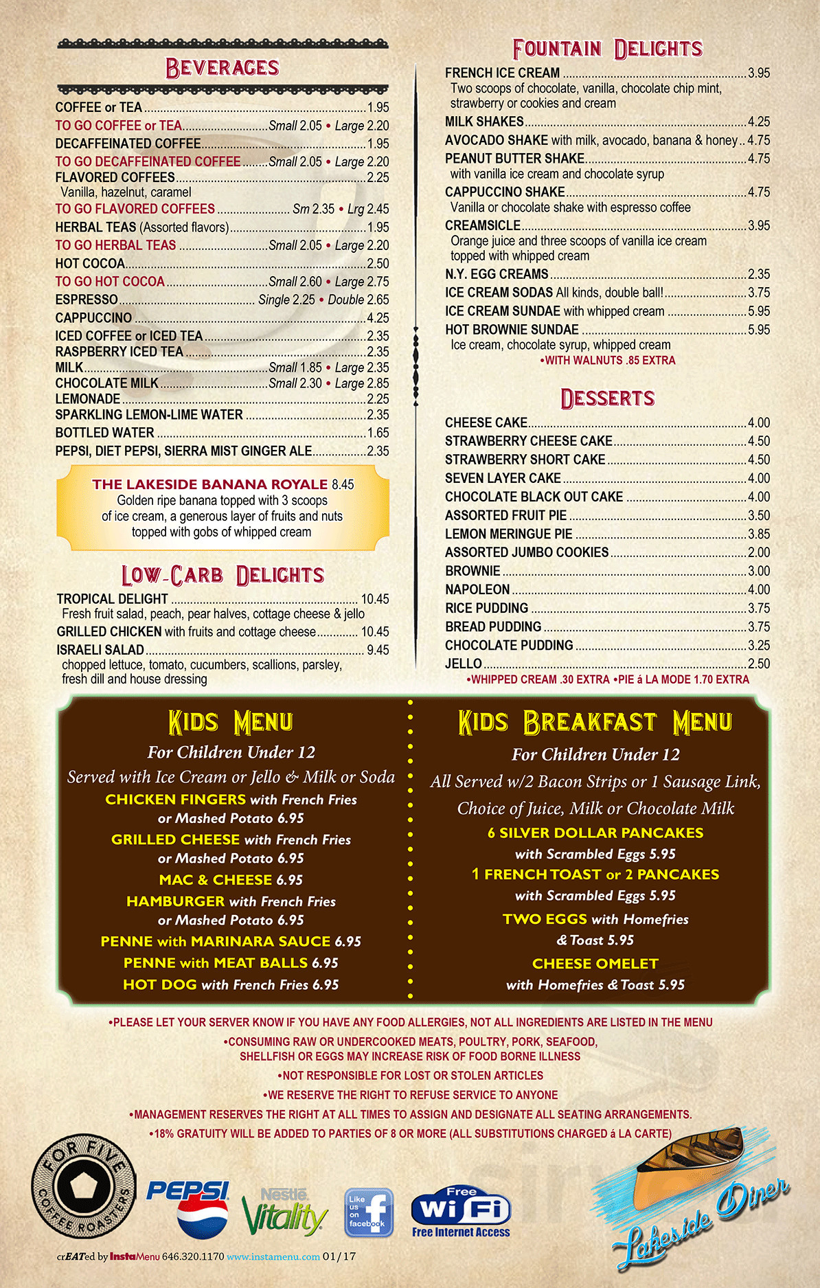 Lakeside Diner Menu In Ringwood New Jersey Usa