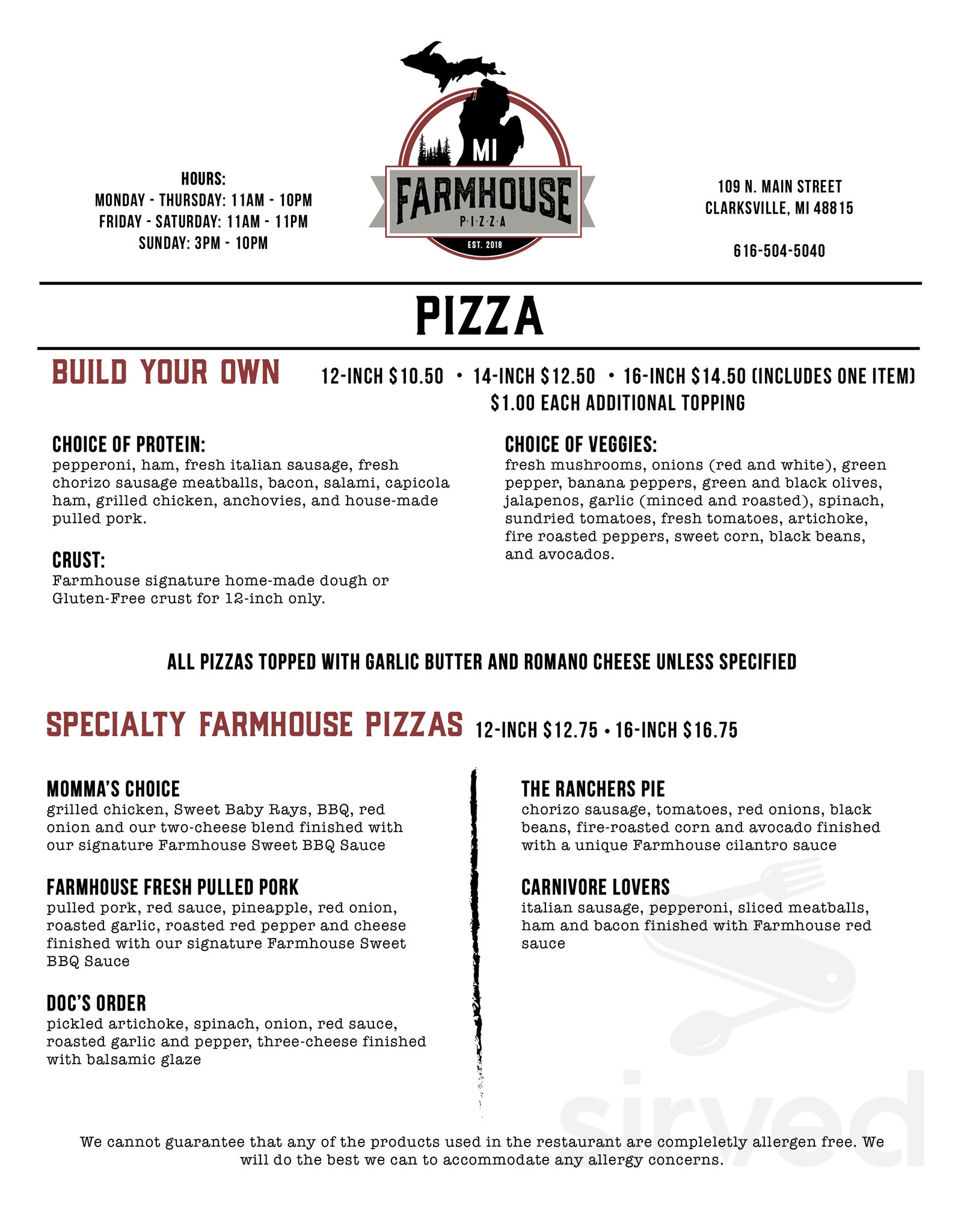 Menu For Michigan Farmhouse Pizza In Clarksville Michigan