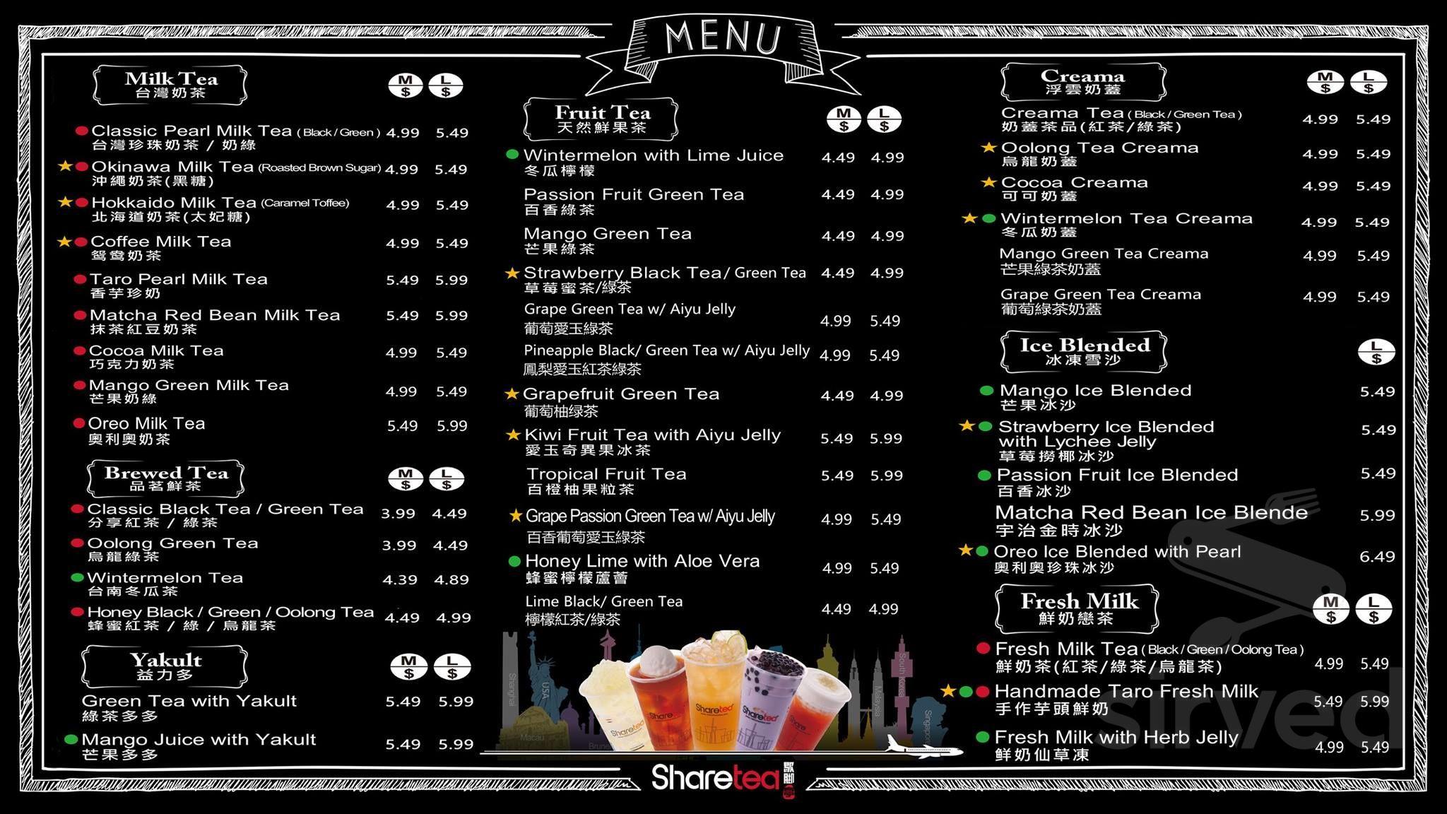menu for sharetea windsor in windsor, ontario, canada