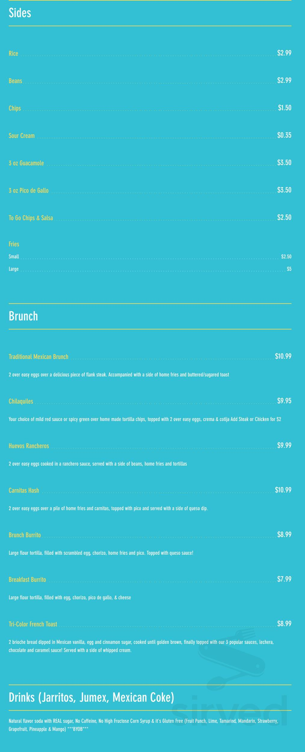 Menu For Real Mexican Kitchen In Glen Mills Pennsylvania