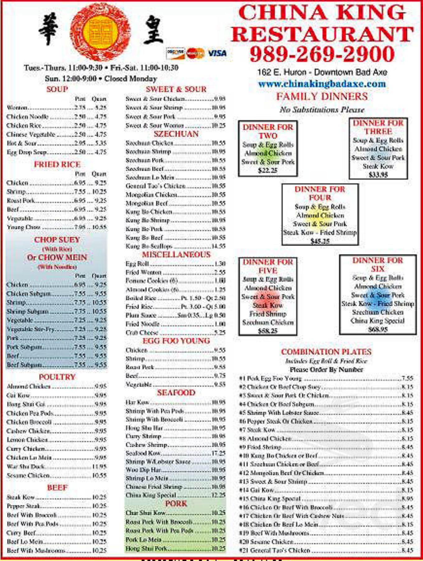 China King Restaurant Menu In Bad Axe Michigan Usa