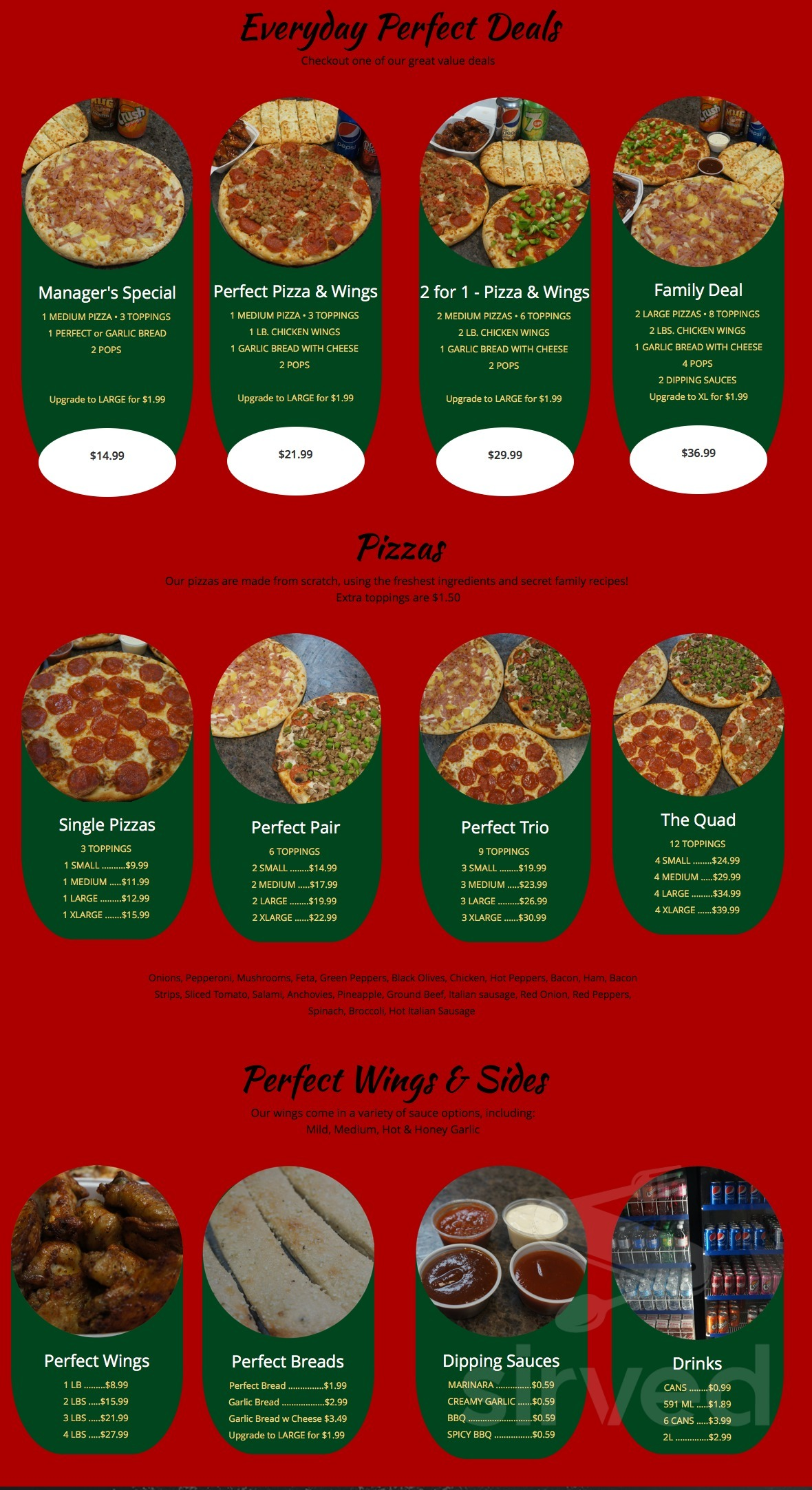 Menu For Perfect 2 For 1 Pizza In Cambridge Ontario Canada