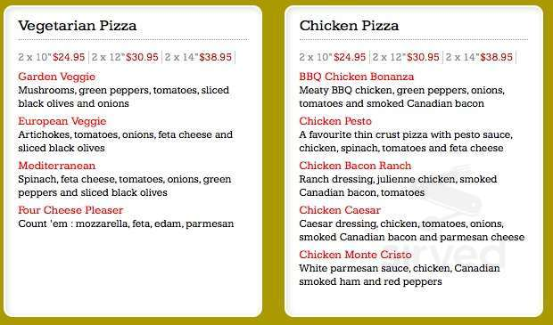 Canadian 2 For 1 Pizza Menu In New Westminster British Columbia