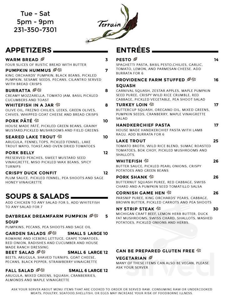 Terrain Restaurant Menu In Bellaire Michigan Usa