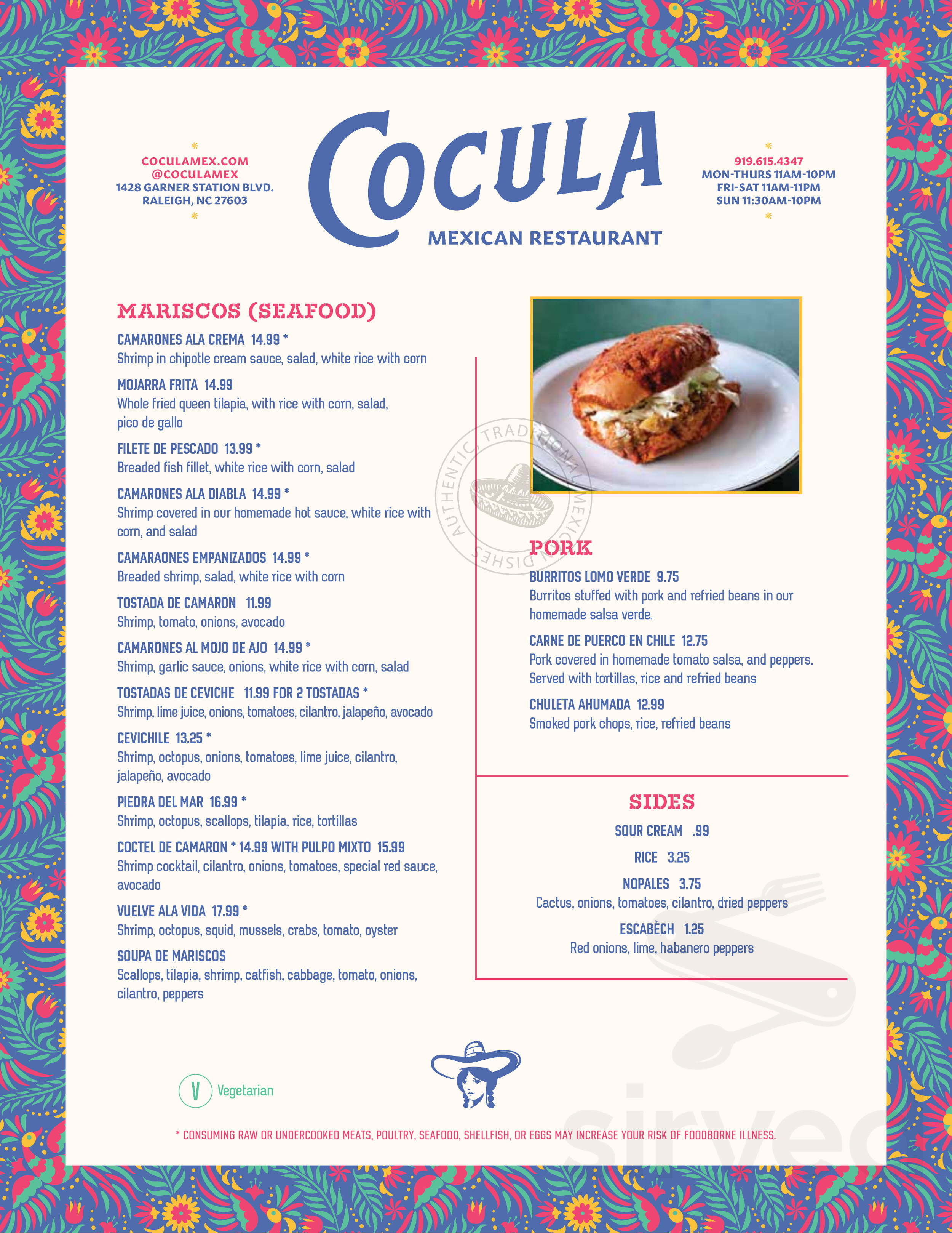 Menu For Cocula Mexican Restaurant In Raleigh North Carolina