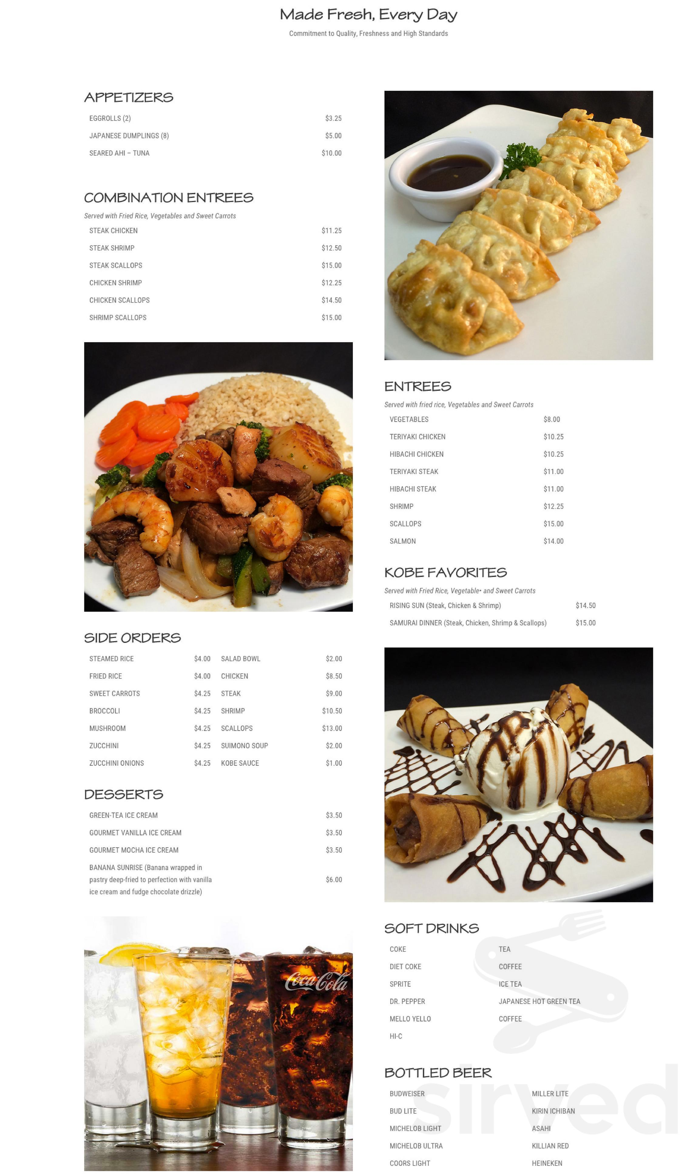 Menu for Kobe Japanese Grill in Knoxville, Tennessee, USA