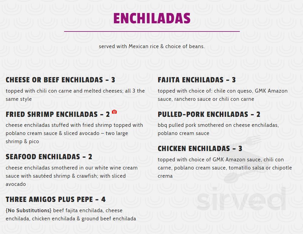 Gringo S Mexican Kitchen Menu In Spring Texas Usa