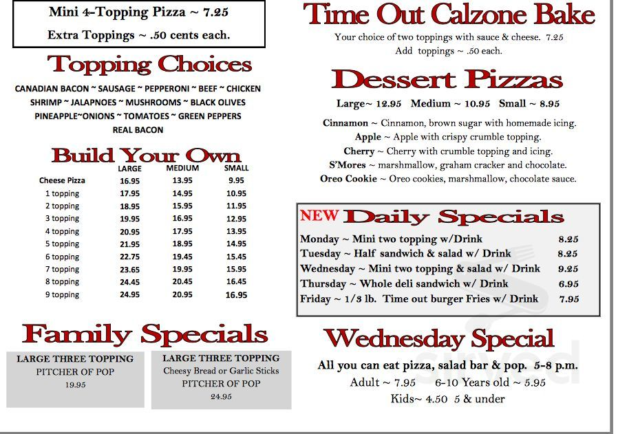 Time Out Pizza Menu In Othello Washington Usa