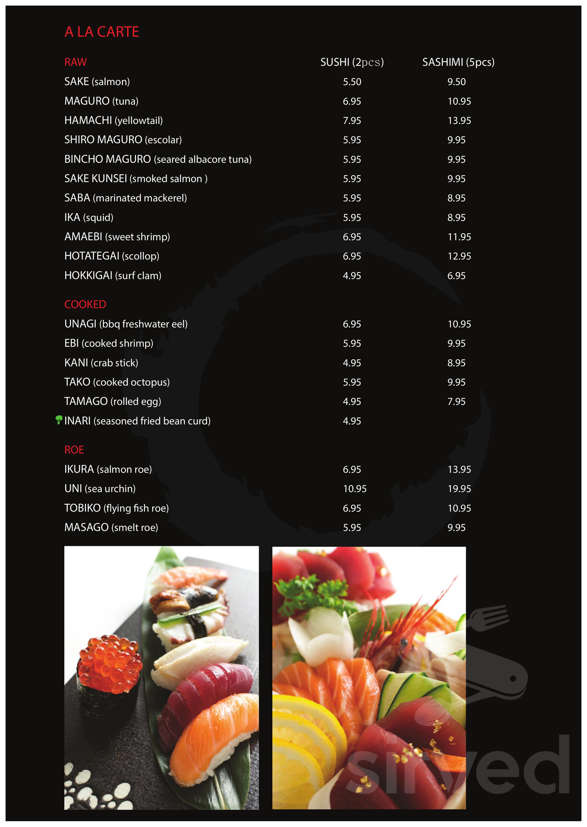 Menu For Sushi House Japanese Restaurant In Brampton Ontario