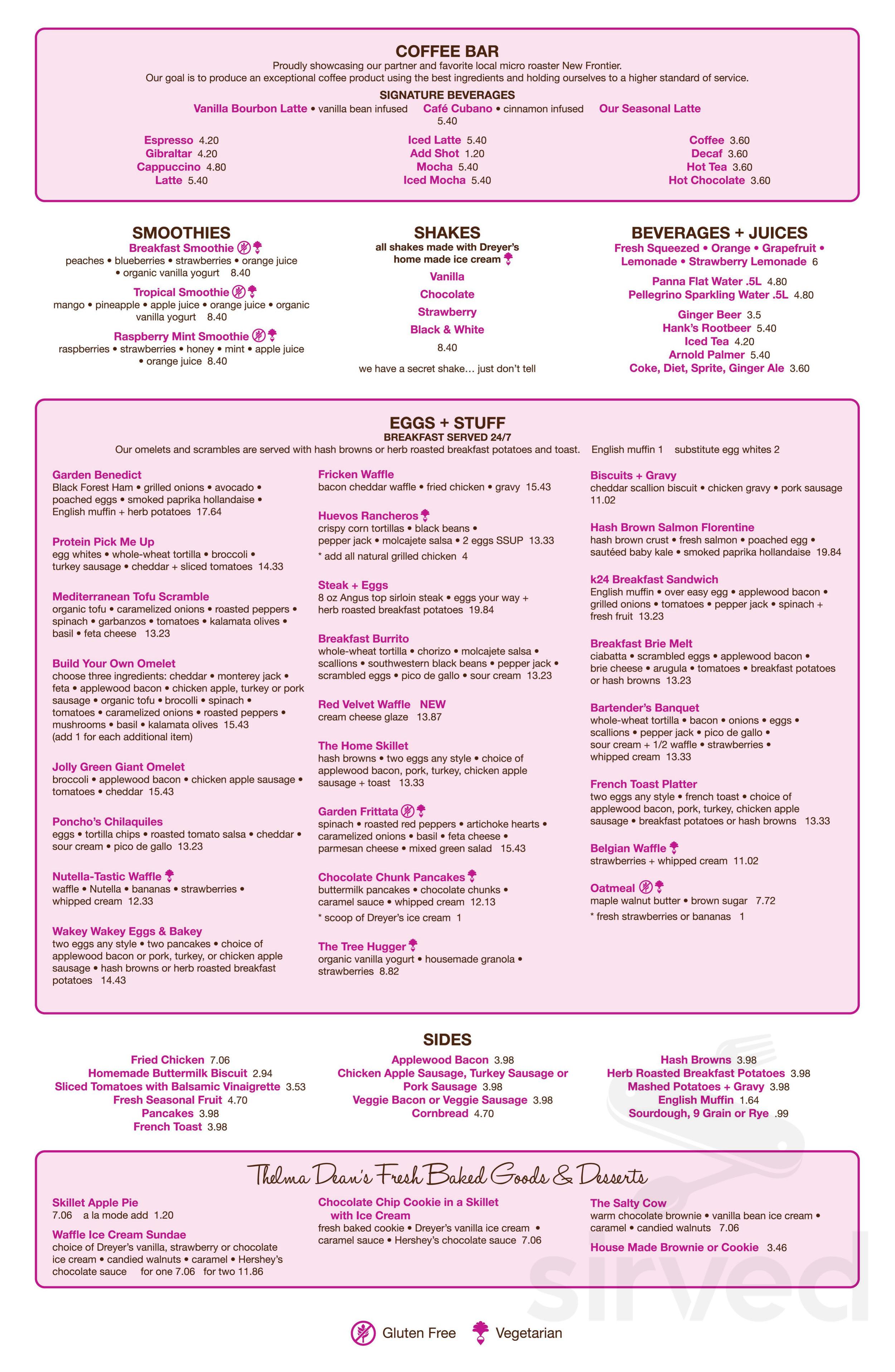 Menu for kitchen 24 main menu page 1 of 2