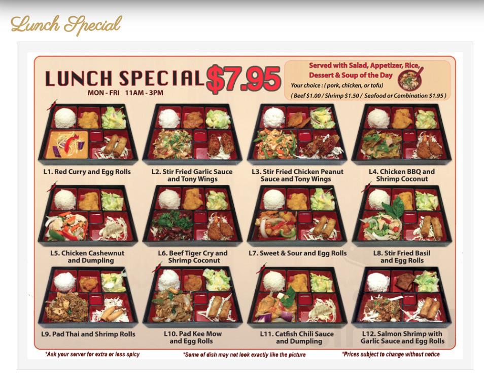 Menu For Tony Thai Restaurant In Houston Texas Usa
