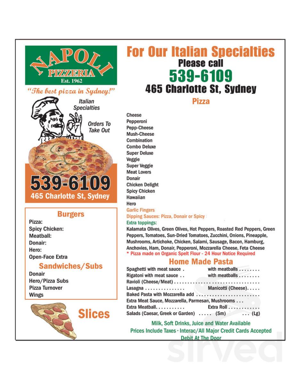 Napoli Pizzeria Menu In Sydney Nova Scotia Canada