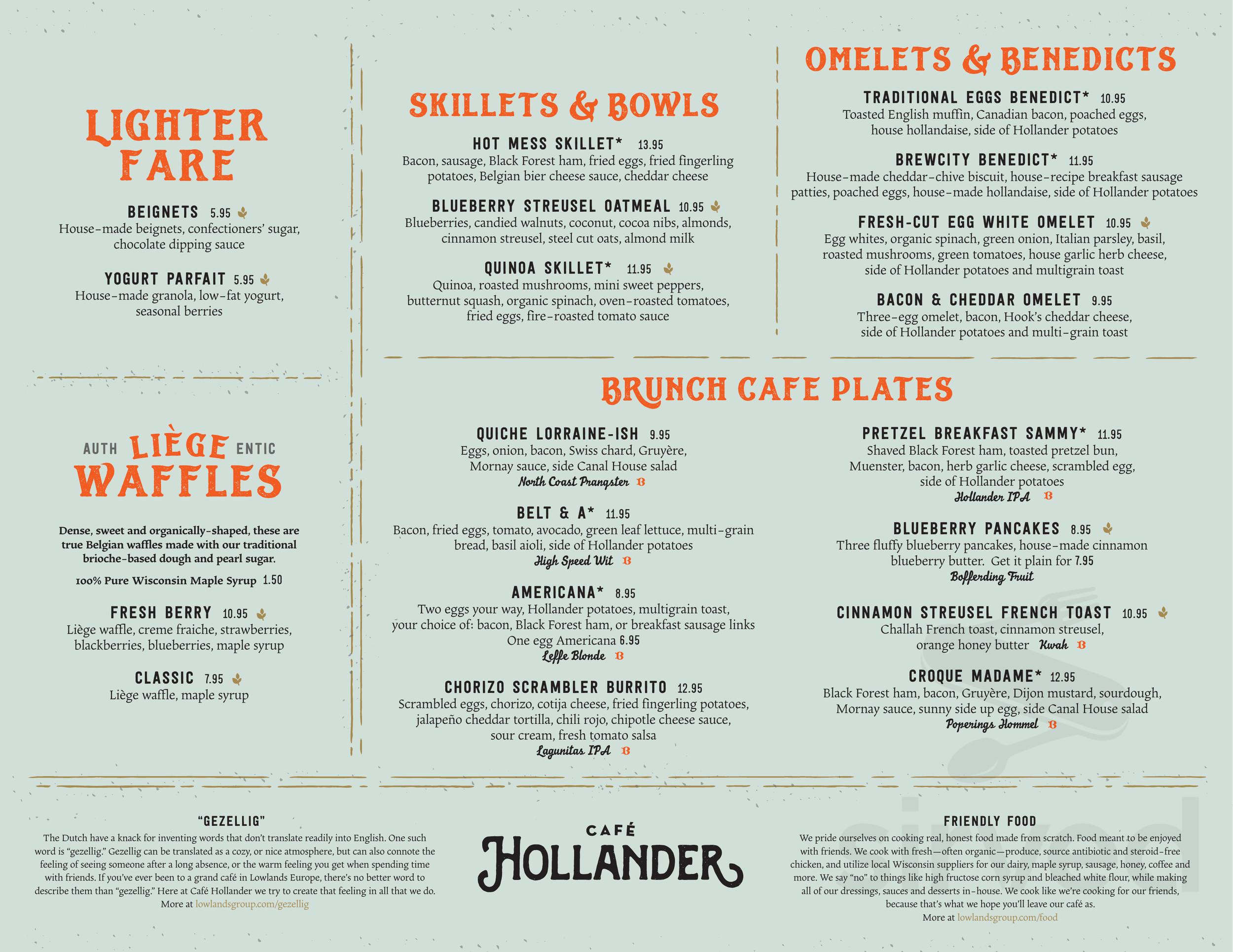 Menu for Café Hollander - Brookfield in Brookfield, Wisconsin