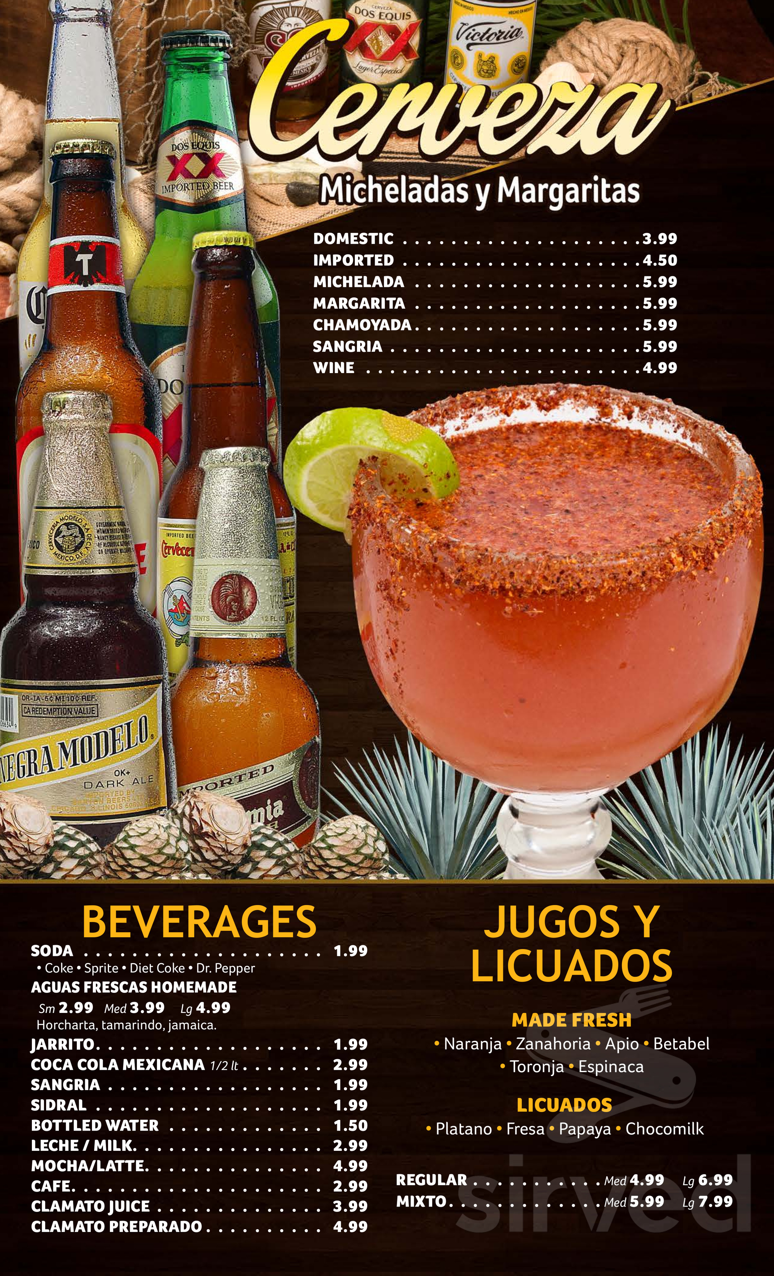 Menu for La Rana Mexican Restaurant in Laguna Hills, California